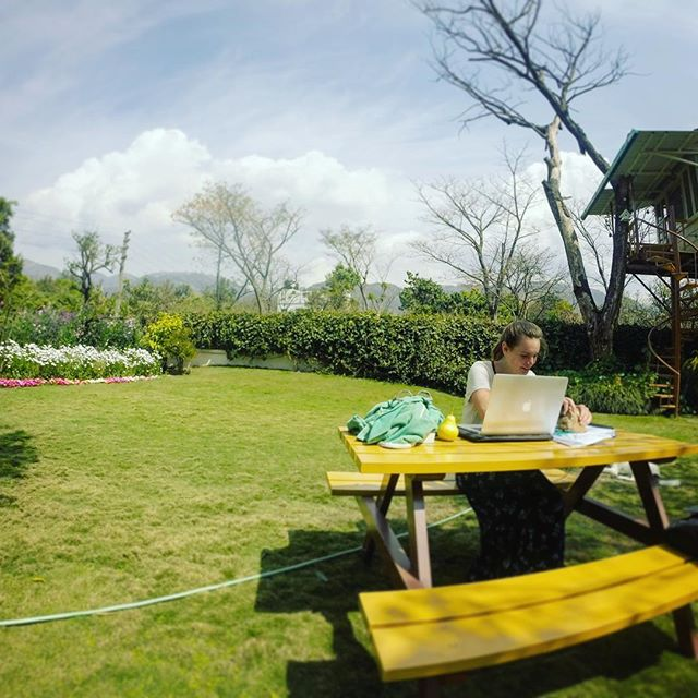 Erin working on her capstone, taking a sweet little break from the road at an amazing homestay outside Dehradun, looking up at Mussoorie in the mountains.  #climate #gapyear