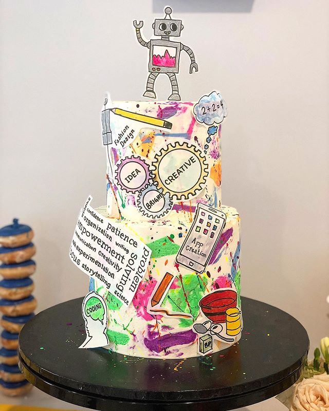A fun cake for the grand opening of @mindfullearningcenter. . . . . #redflourco #alledible #losangelesfood #losangelescakes #handdrawndetails #deliciouscakes