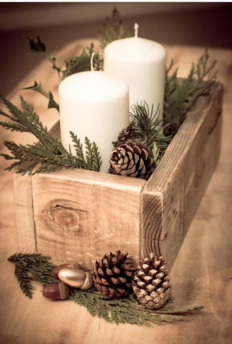 rustic easy DIY decor candles pine bows the wealth babe budget ideas.jpg