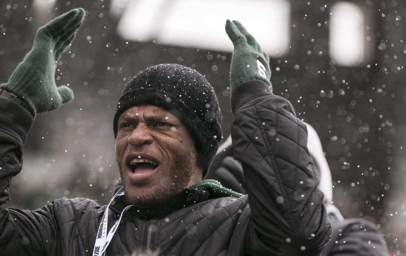 A fan reacts to a call during a Michigan State football game against Ohio State on Nov. 11, 2017.