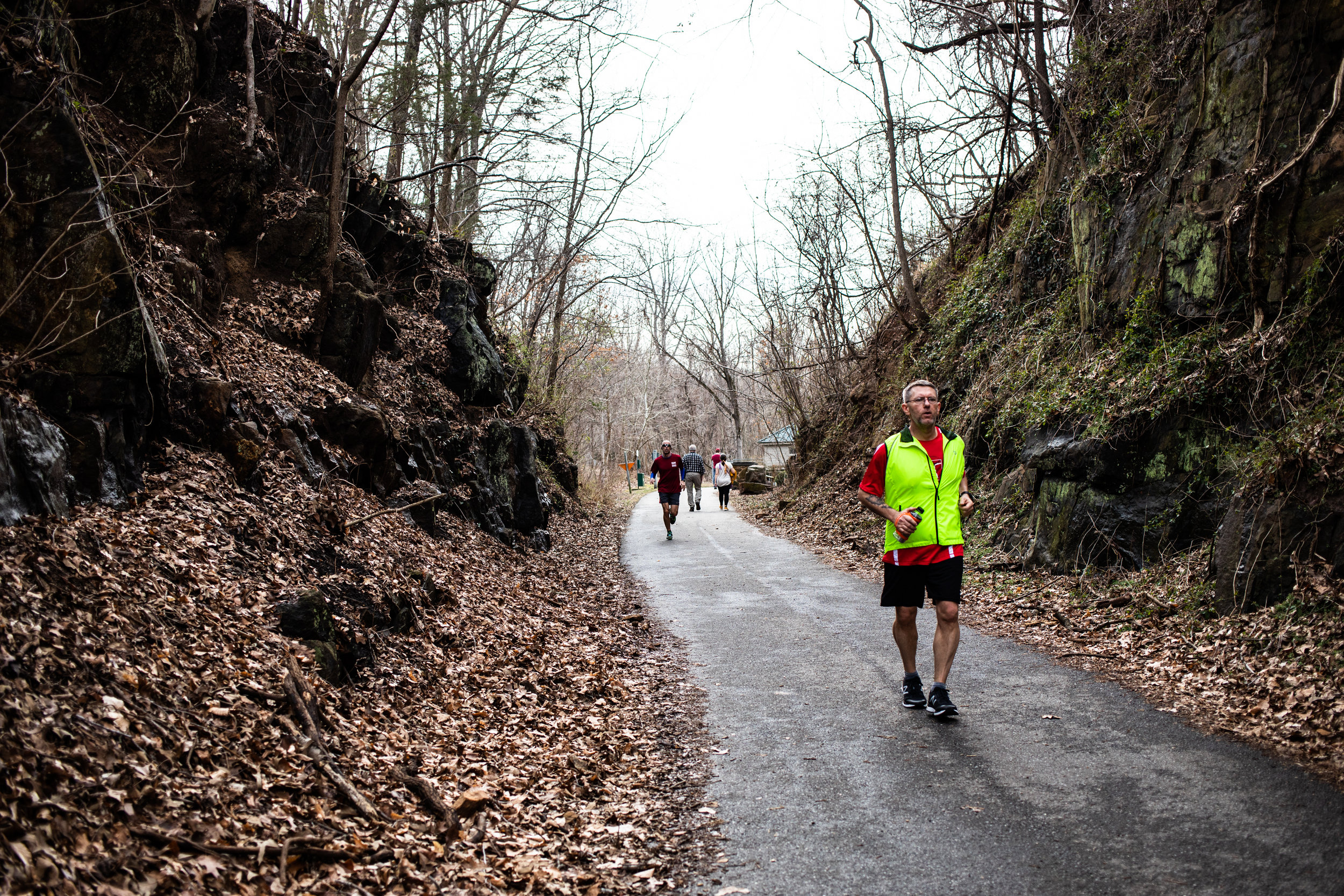 John Langston of Forest runs down Blackwater Creek Trail on March 10, 2019 in Lynchburg, VA.