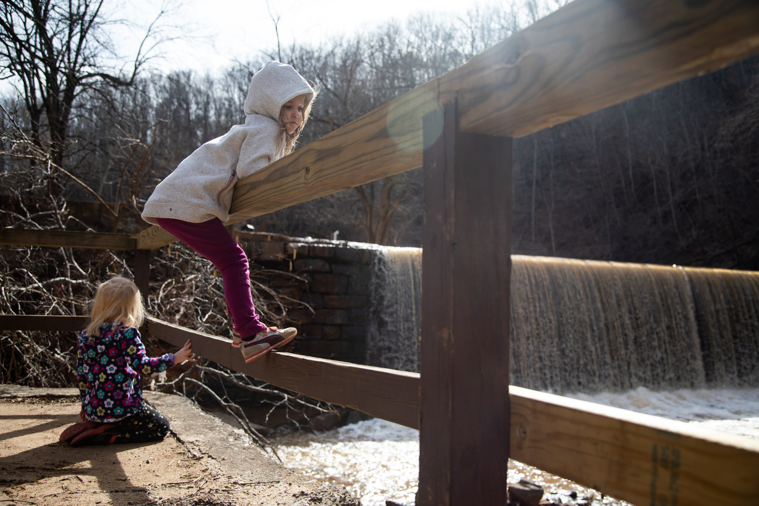 Avery Gentry, 4. and Calla Avondet, 4, exploring Hollins Mill Dam on Feb. 25, 2019 in Lynchburg, VA.