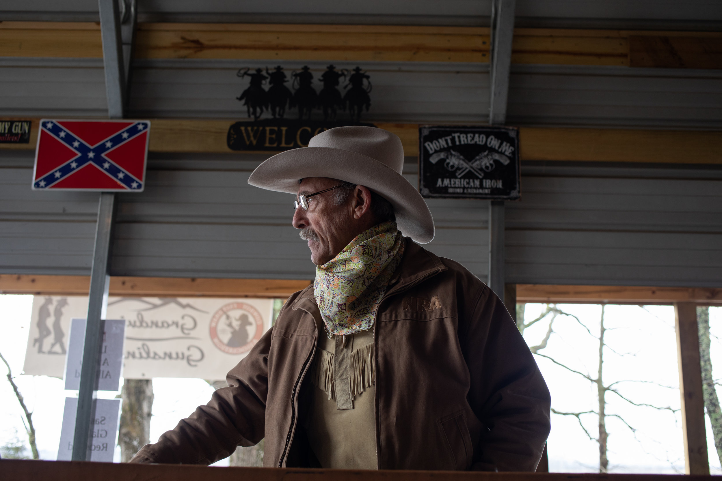 Mack Dunnavant aka Saddle Tramp looks to the judges before the first round Grandview Gunslingers Cowboy Fastdraw Tournament in Bedford, VA. The Gunslingers are a Sanctioned Club for the Cowboy Fast Draw Association with headquarters in Fallon, Nevada.