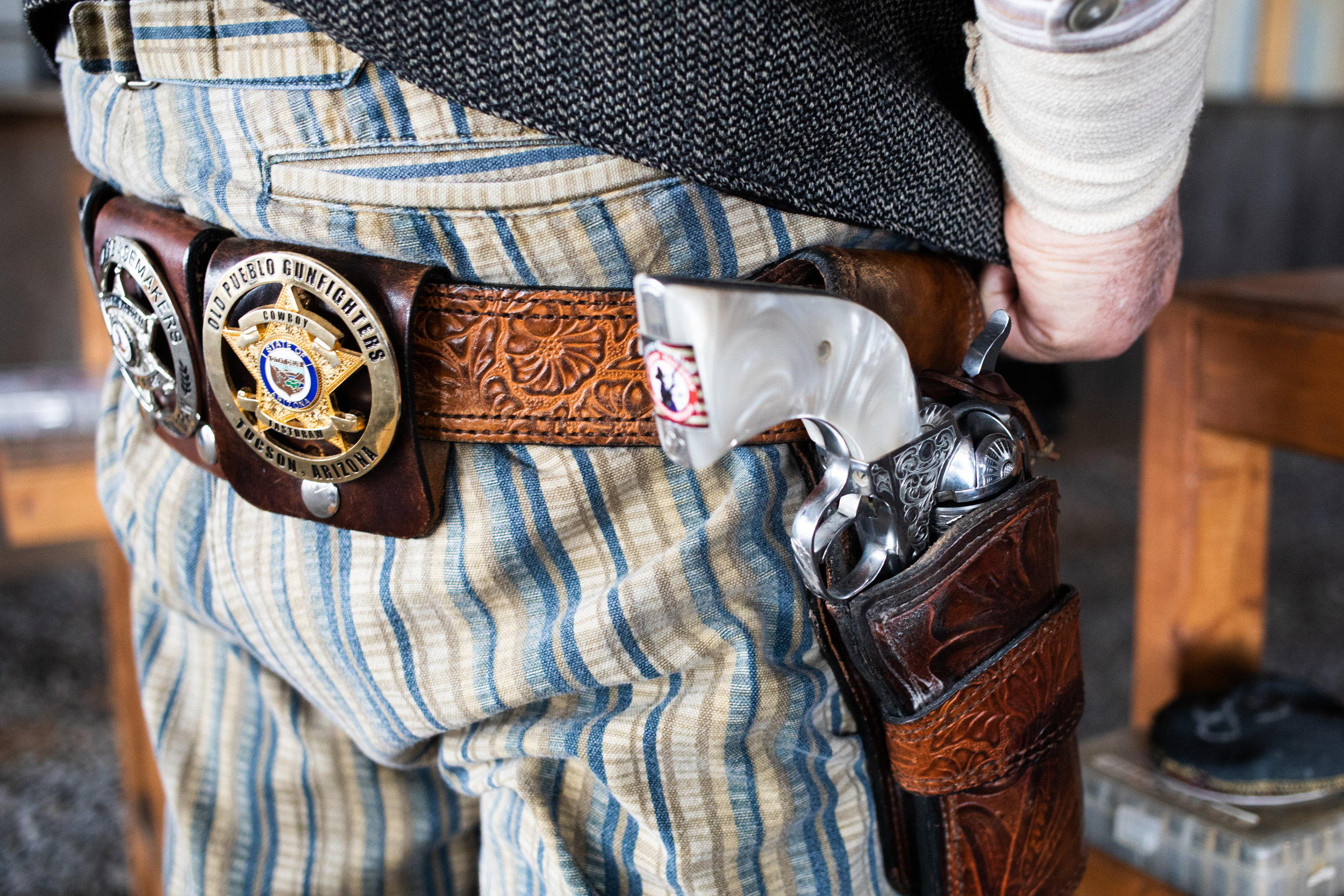 Details of a gun belt during the Grandview Gunslingers Cowboy Fastdraw Tournament in Bedford, VA. The Gunslingers are a Sanctioned Club for the Cowboy Fast Draw Association with headquarters in Fallon, Nevada.