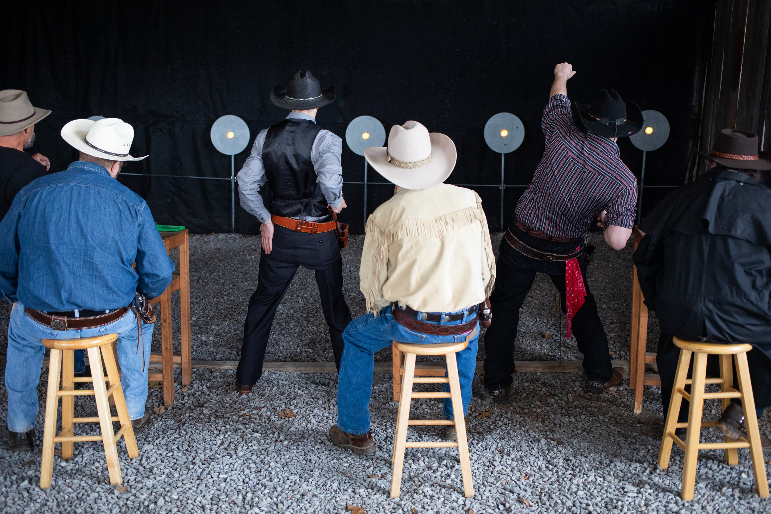 Cowboys during a round of the Grandview Gunslingers Cowboy Fastdraw Tournament in Bedford, VA. The Gunslingers are a Sanctioned Club for the Cowboy Fast Draw Association with headquarters in Fallon, Nevada.