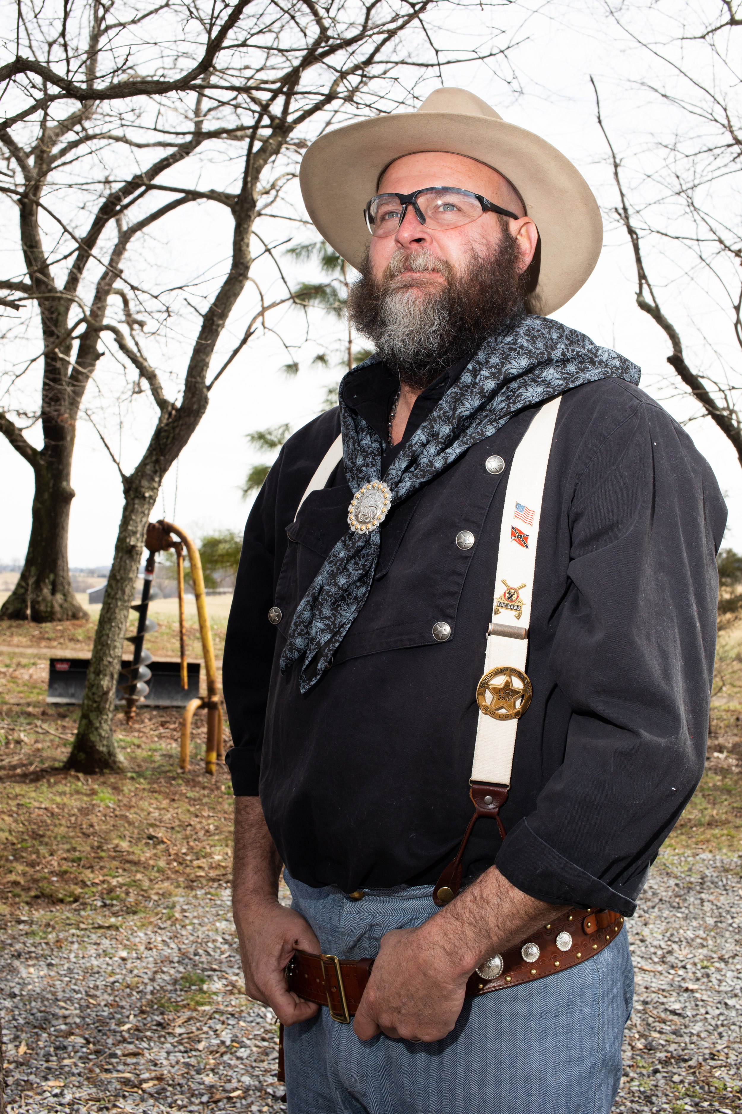 Scott Malone aka Big Ugly poses for a portrait during the Grandview Gunslingers Cowboy Fastdraw Tournament in Bedford, VA. The Gunslingers are a Sanctioned Club for the Cowboy Fast Draw Association with headquarters in Fallon, Nevada.