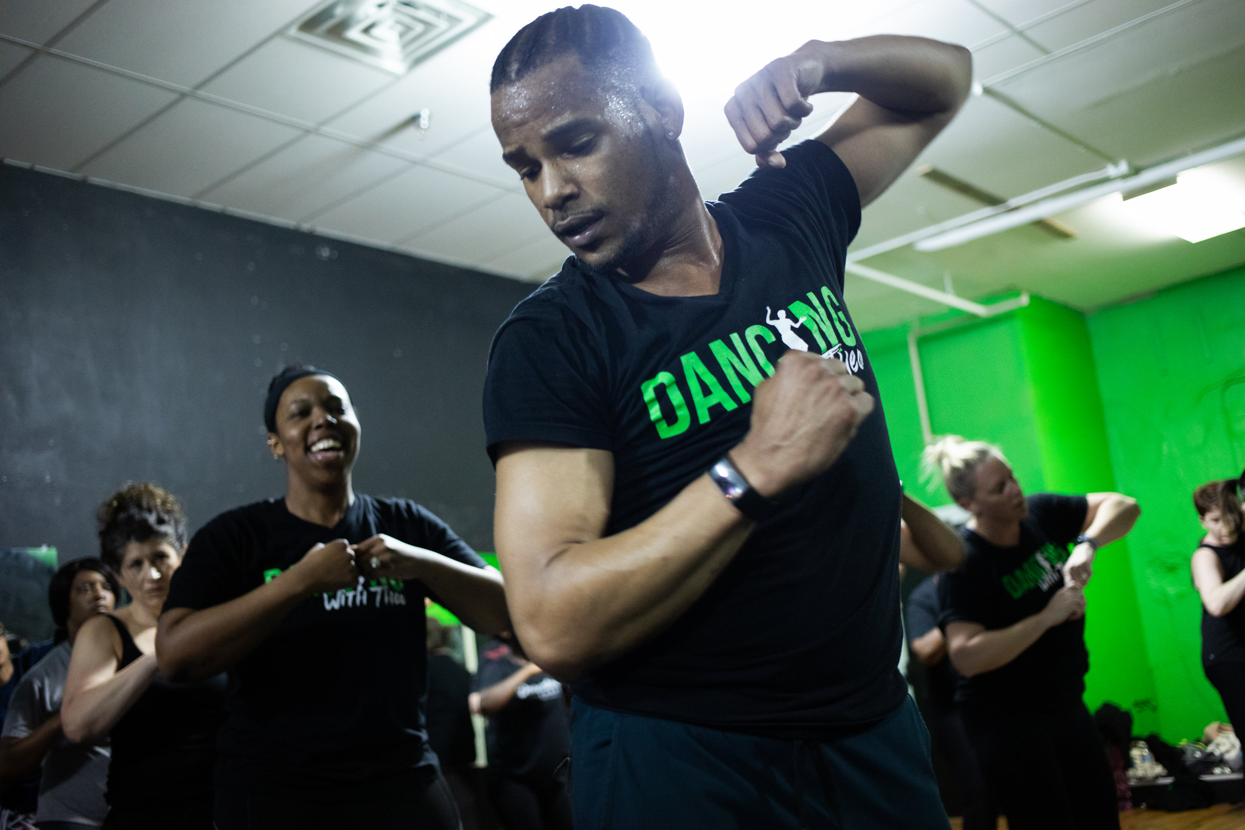 Dance instructor Theo Coates leads a cardio dance class tonight on March 11, 2019 at 811 Main St. in Downtown Lynchburg.
