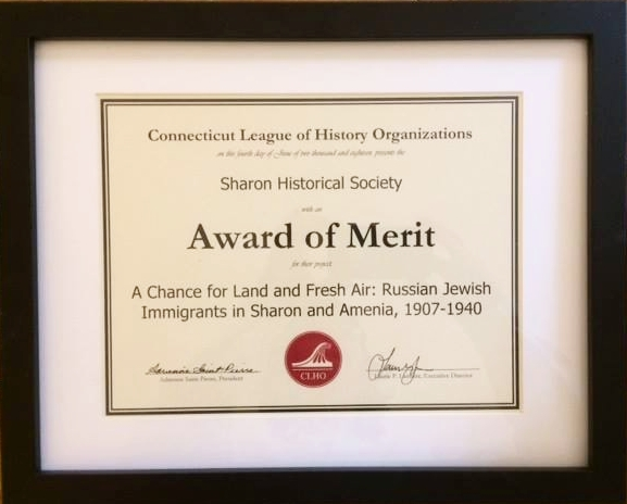 Award of Merit - The A Chance for Land and Fresh Air exhibit at the Sharon Historical Society that inspired the book has been honored with the 2018 Award of Merit by the Connecticut League of History Organizations. The award letter stated,