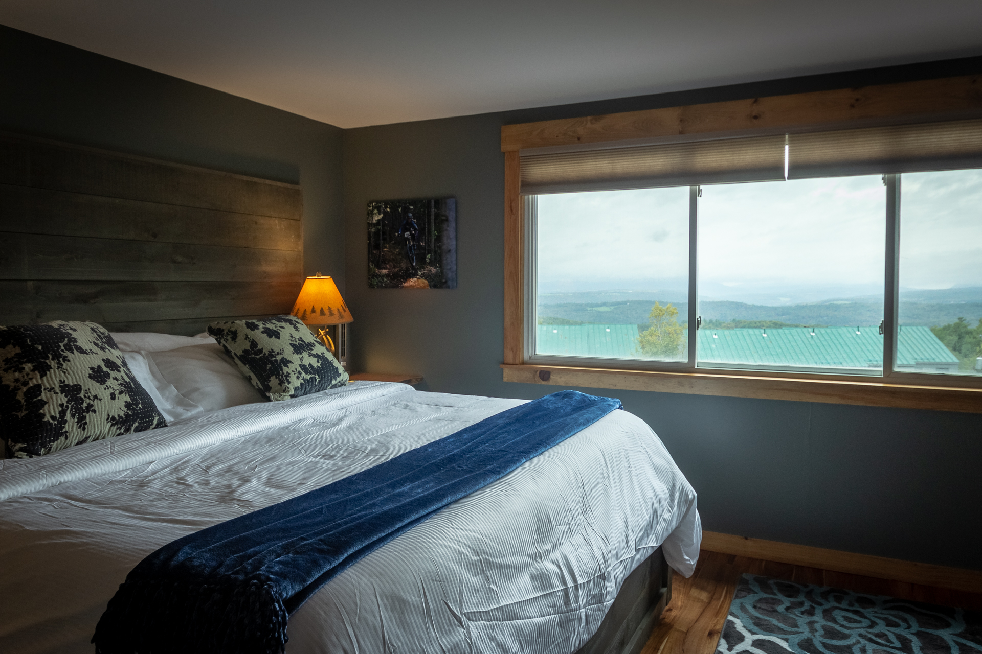 Master bedroom with views of Willoughby Gap with fold out couch