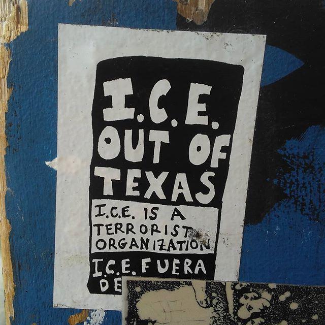 One of my favorite stickers I've been seeing around town lately.  Unknown artist  #bitres #bitresGarcia #contemporaryart #stickerart #austinstreetart #ICEoutofTexas