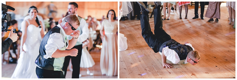 groomsman dances at reception
