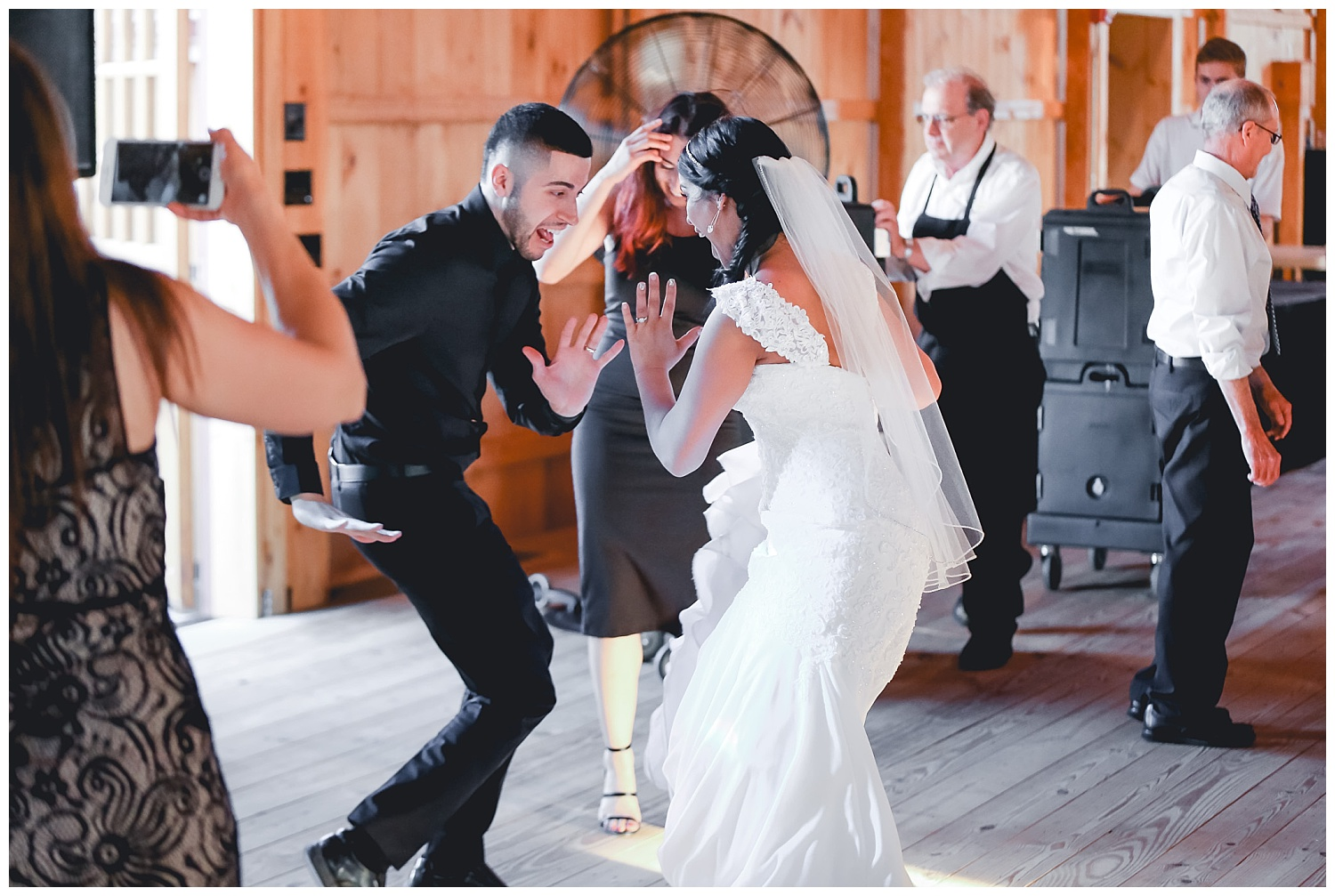 bride and cousin dance at reception