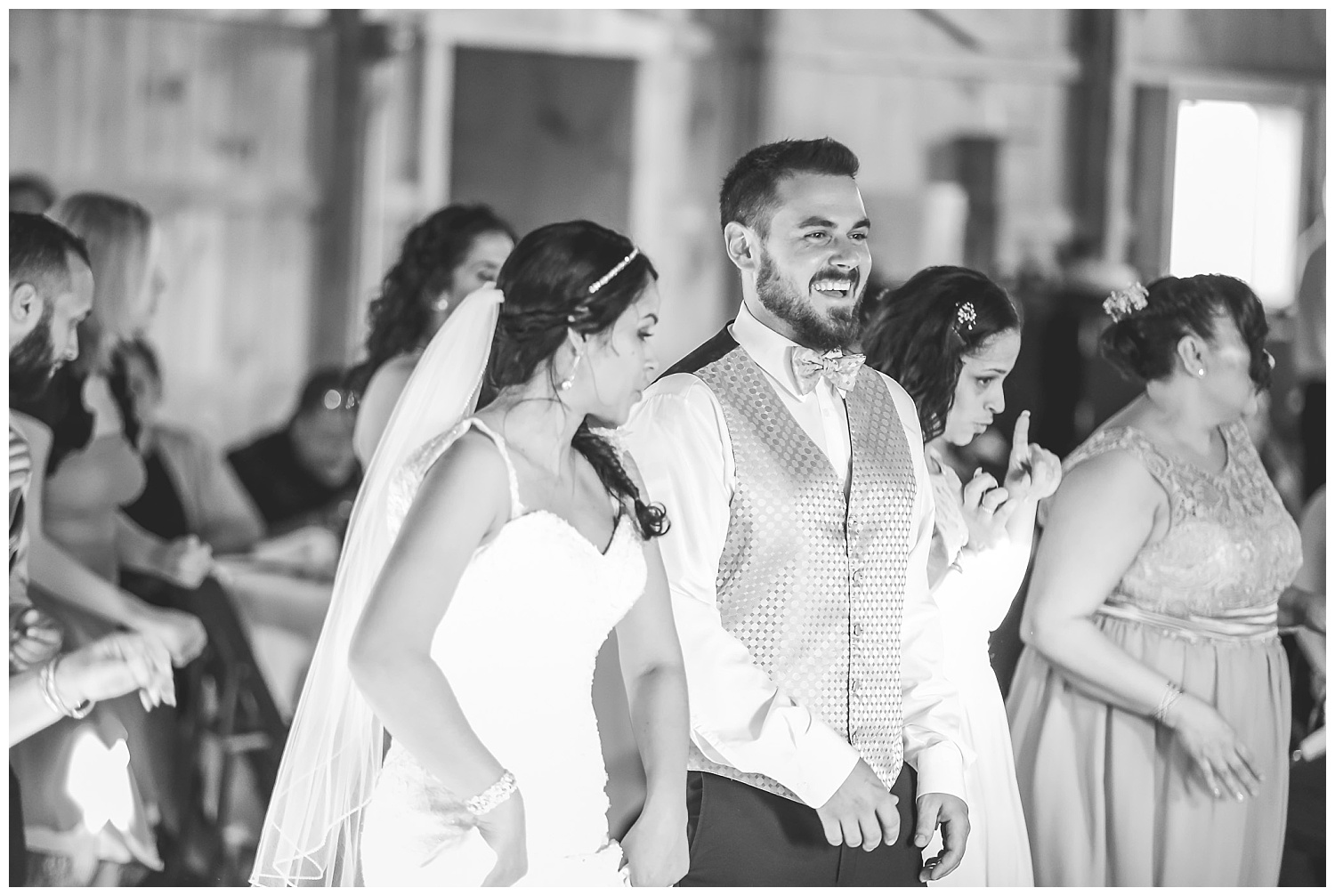 bride and groom dance at reception (black and white)