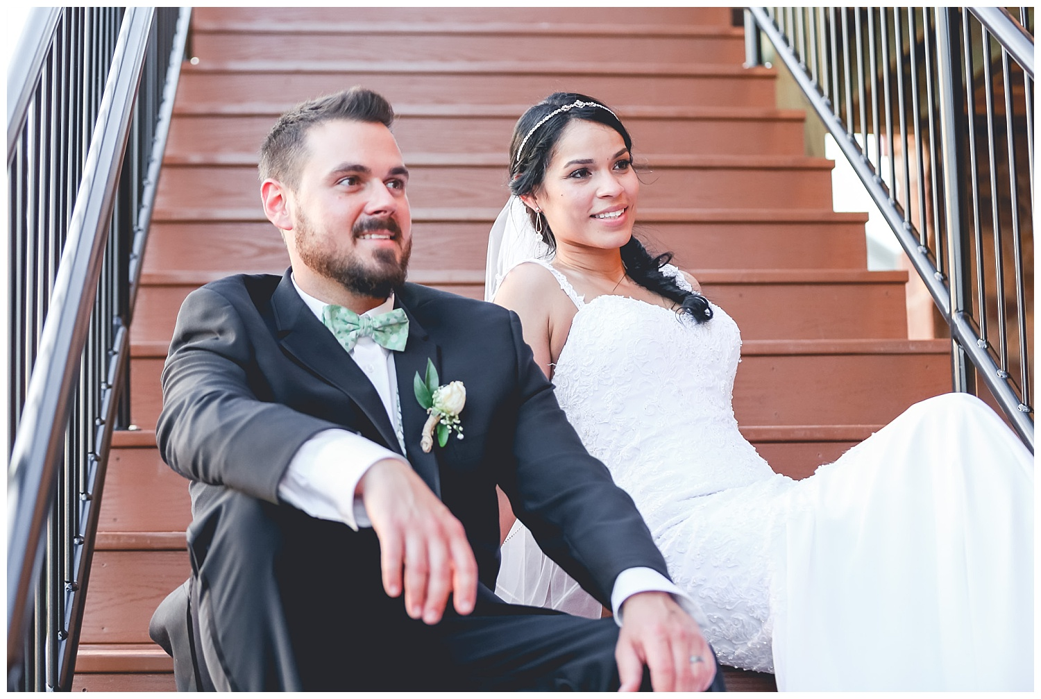 bride and groom portrait on stairs