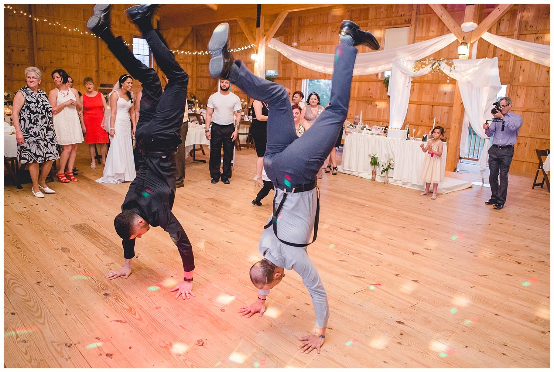 breakdancers at wedding reception