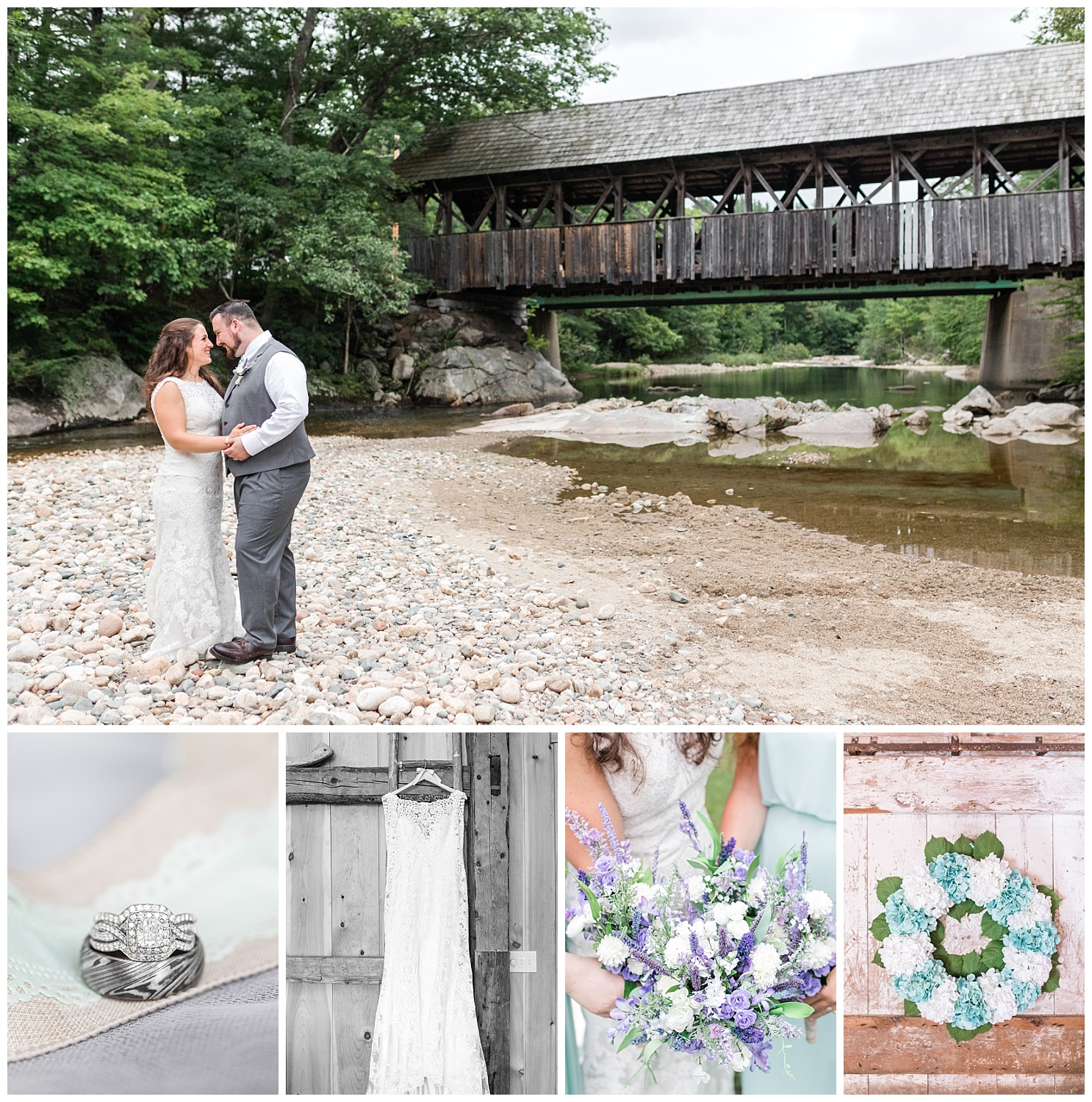 rustic maine wedding bridge