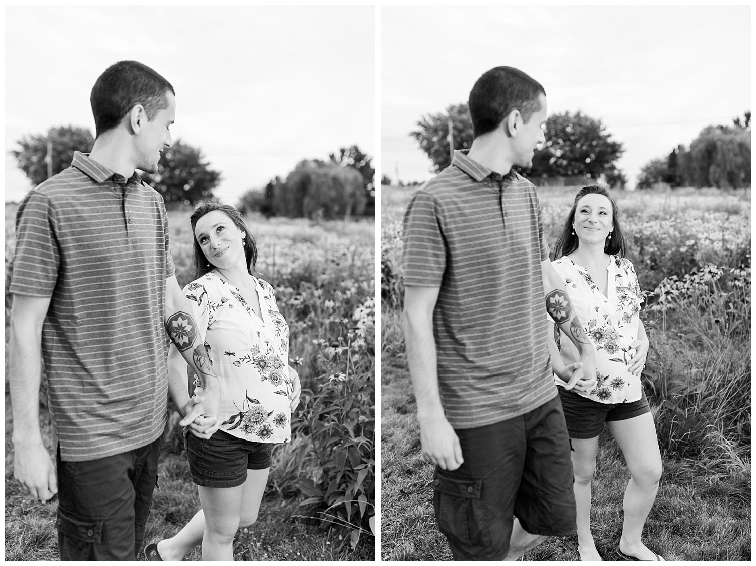 maternity pictures black and white walking