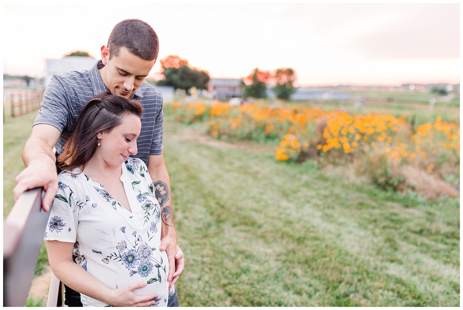 sunset wildflower field maternity pictures lititz pa