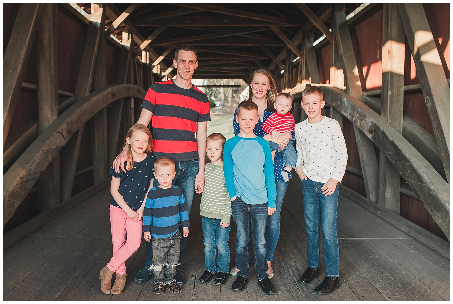 family pictures, Erb's Mill Covered Bridge, Lititz PA