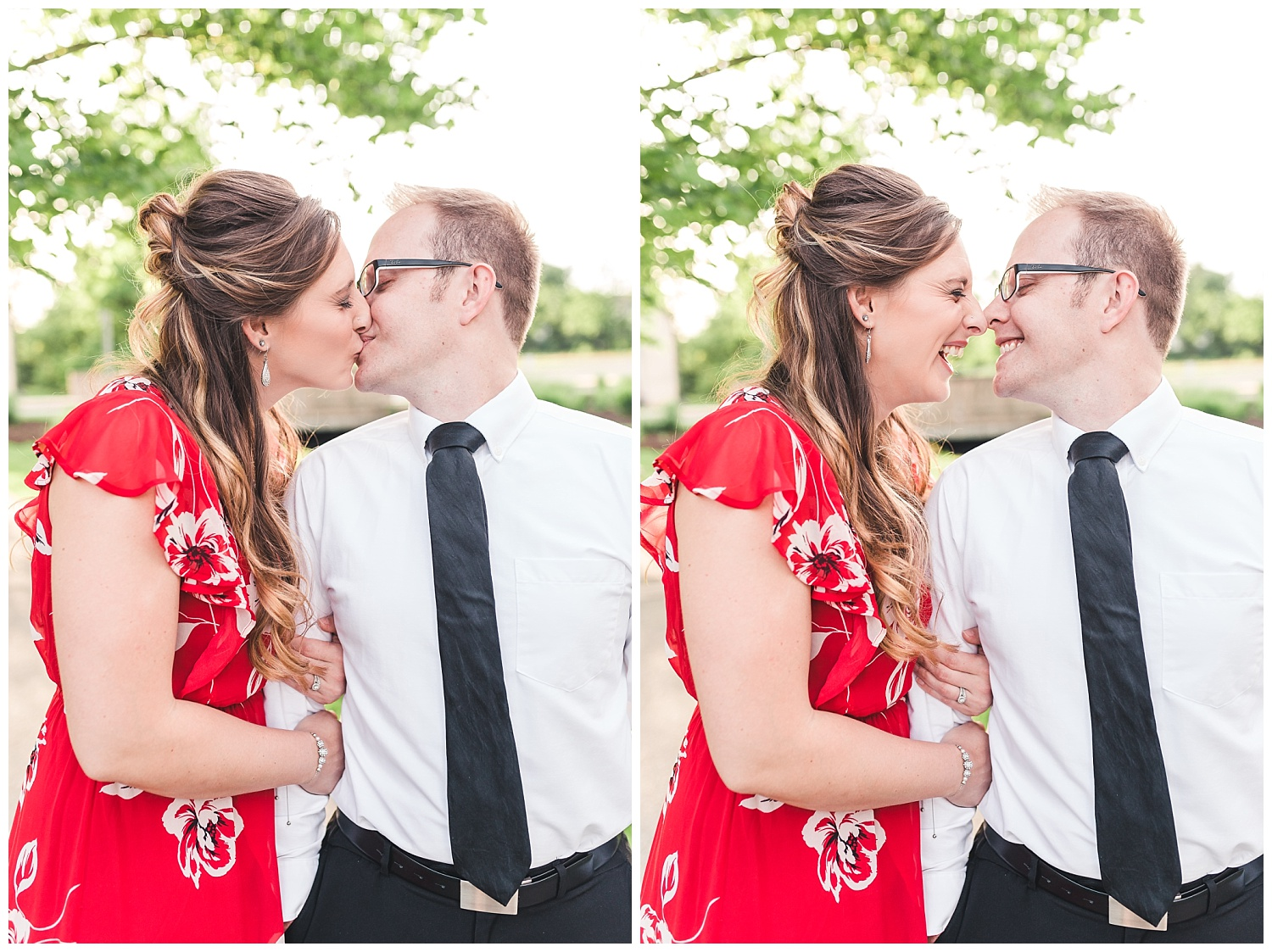 anniversary couples session, laughs and kisses