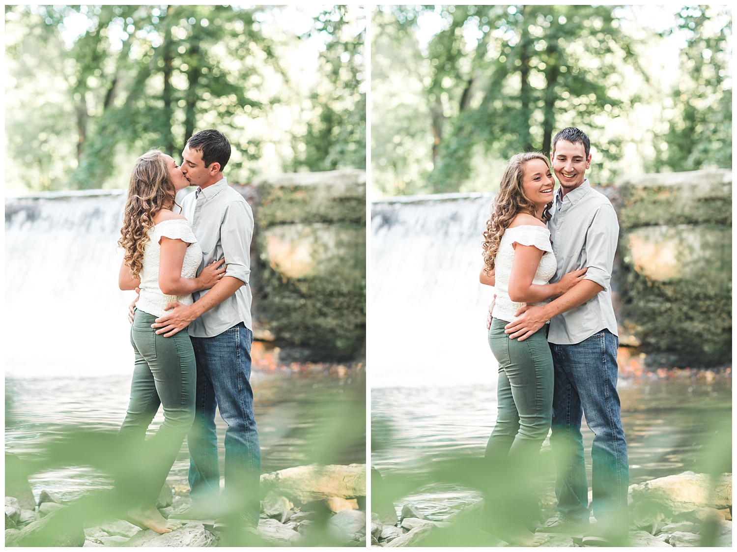 summer engagement session, lancaster pa, the mill at manor falls, waterfall