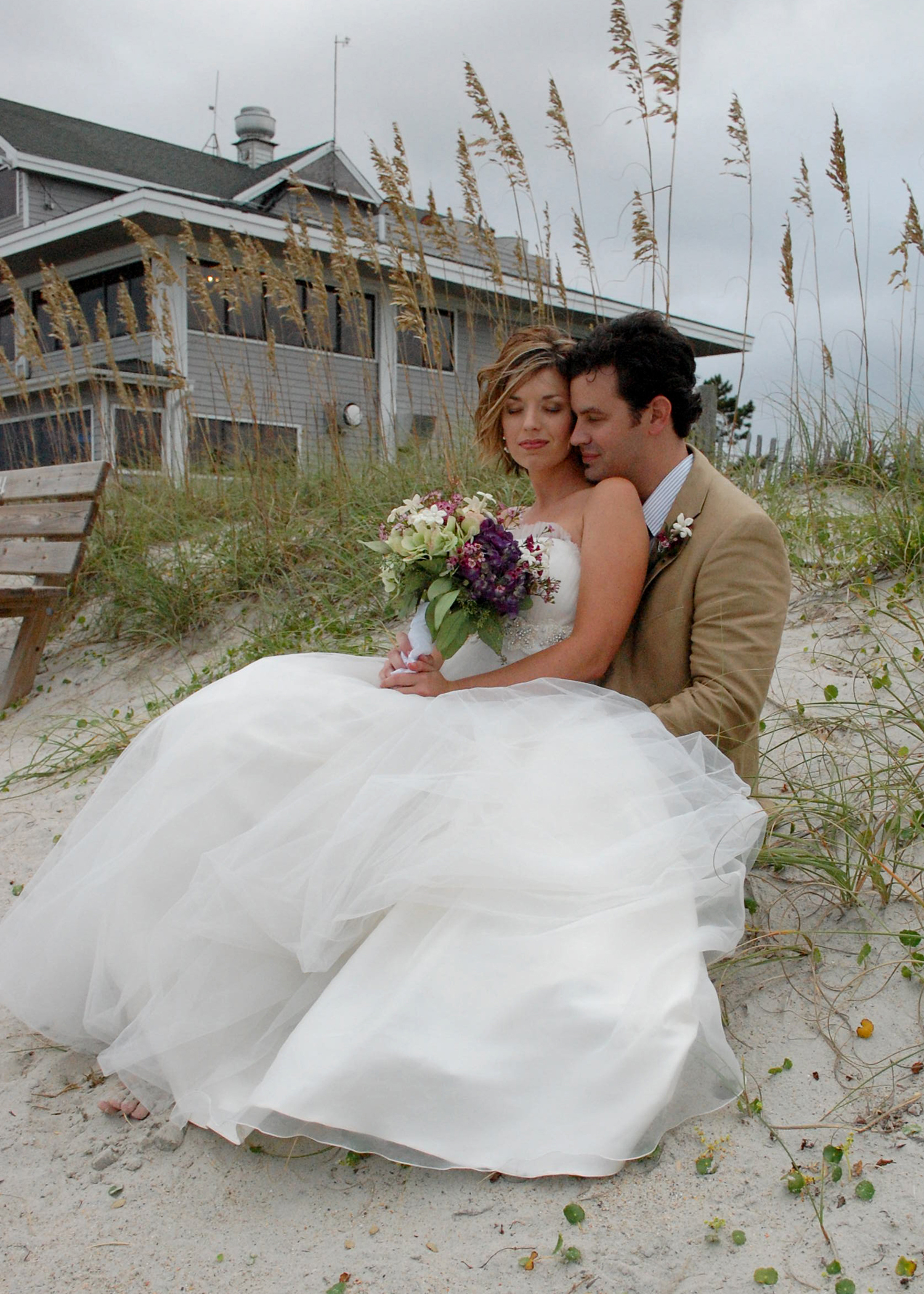 Newly married couple at Wrightsville Beach, NC