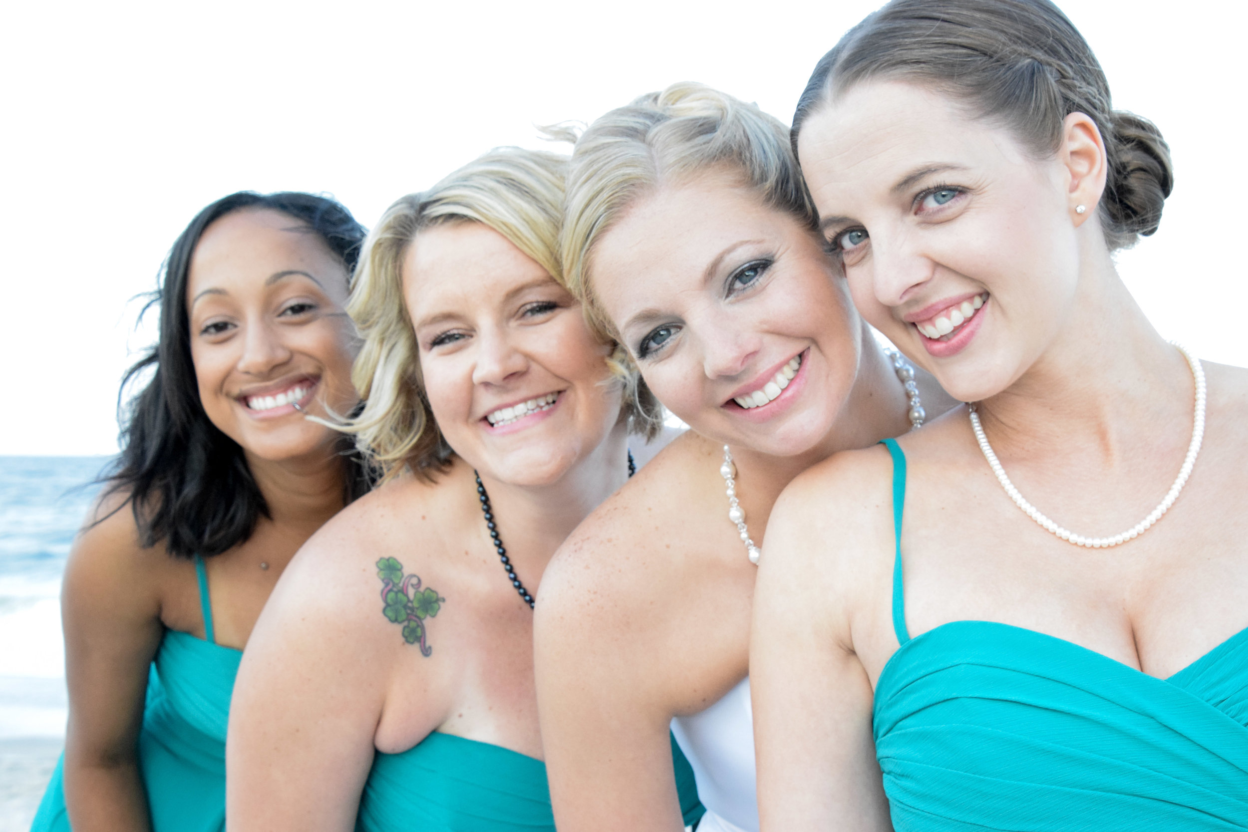 Bride and three bridesmaids.