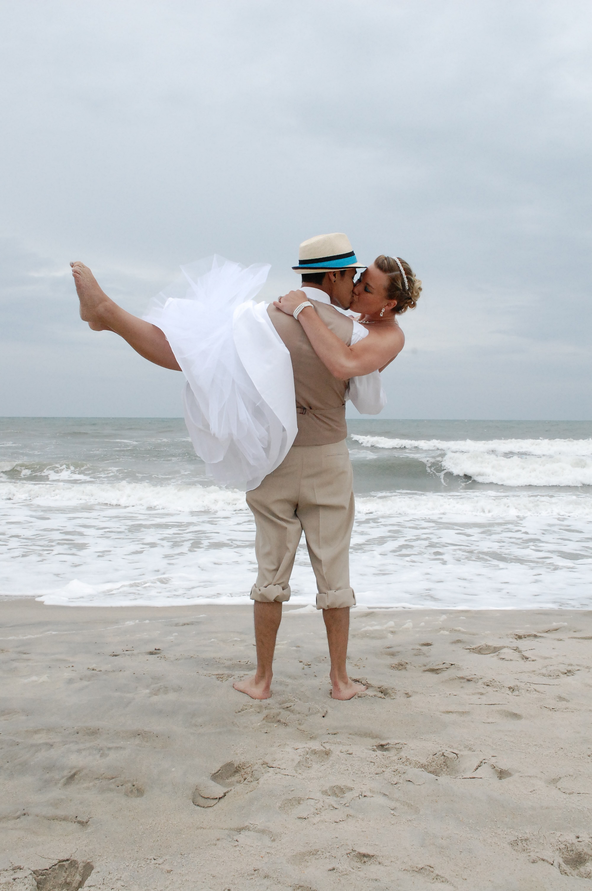 Newly married couple at the beach.