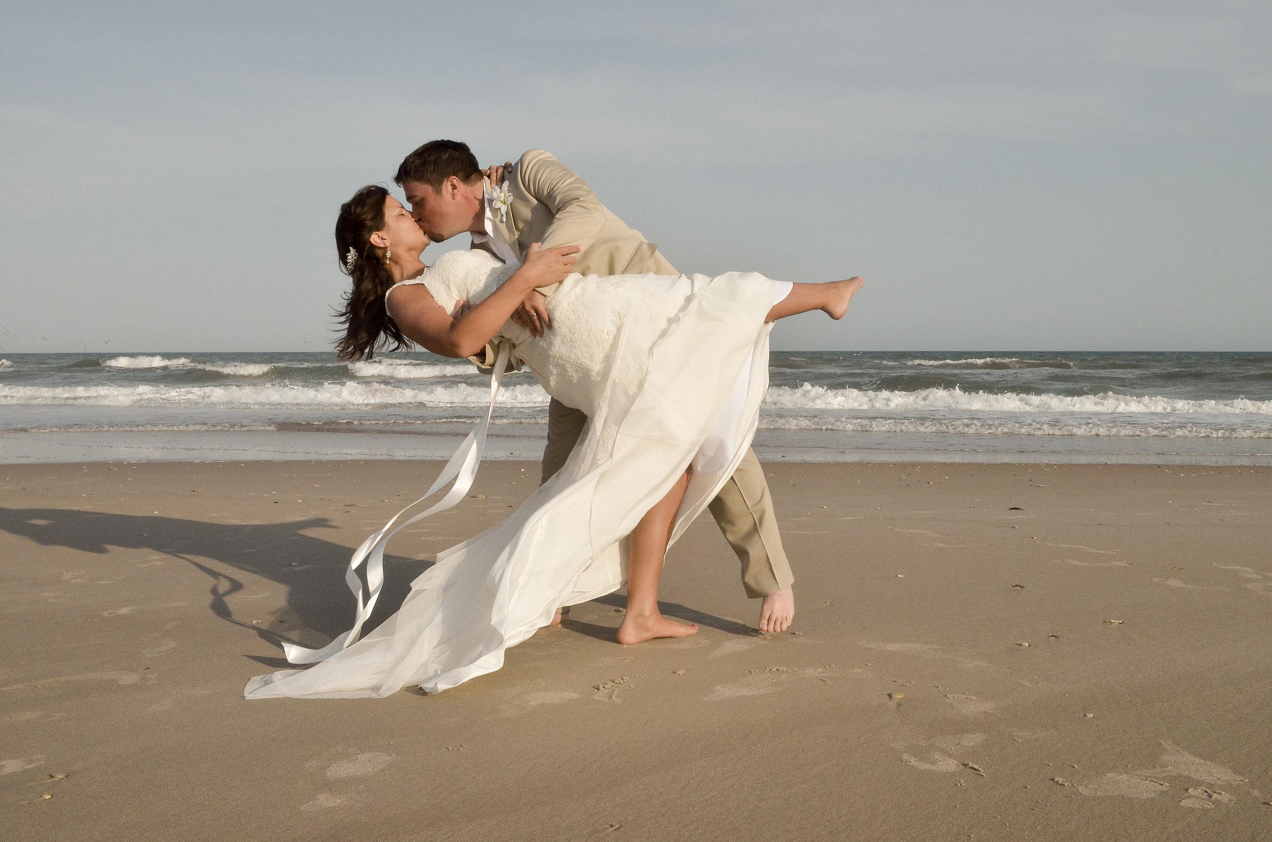 Beach dip and kiss