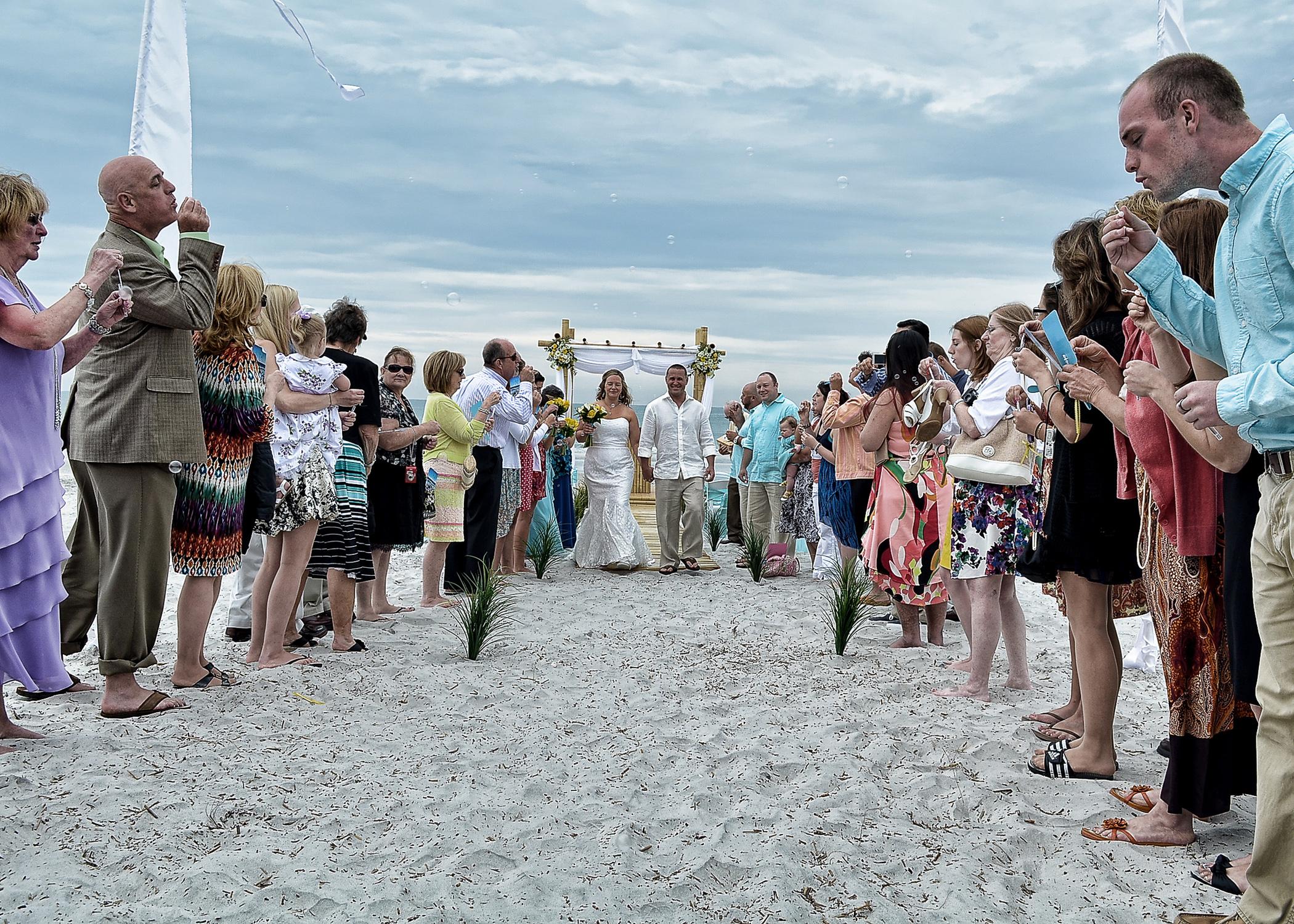 Beach Wedding Bubbles.