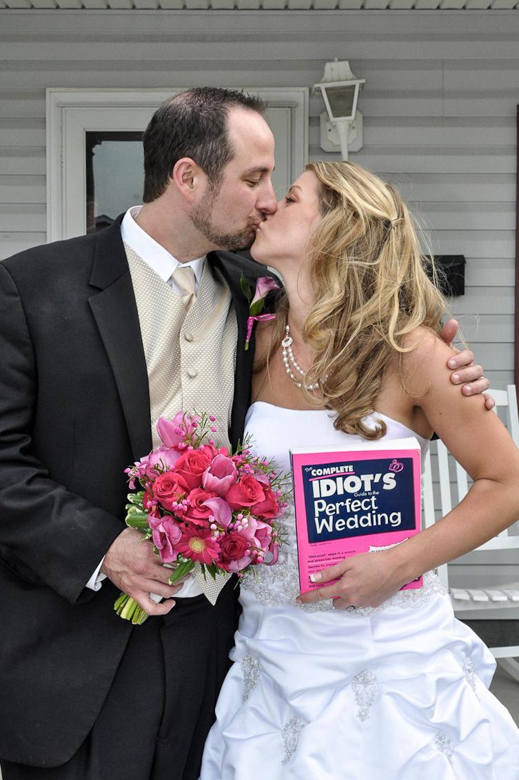 Bride and groom posing spoof.