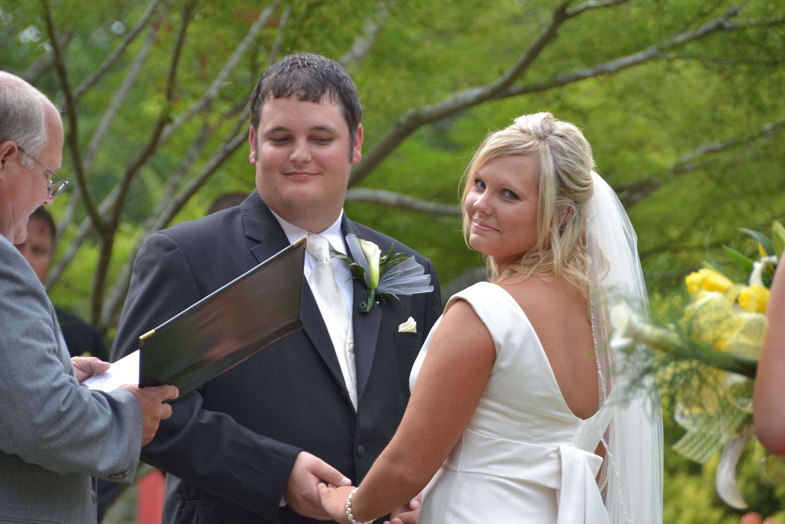 Wedding Ceremony at the Wilmington arboretum.