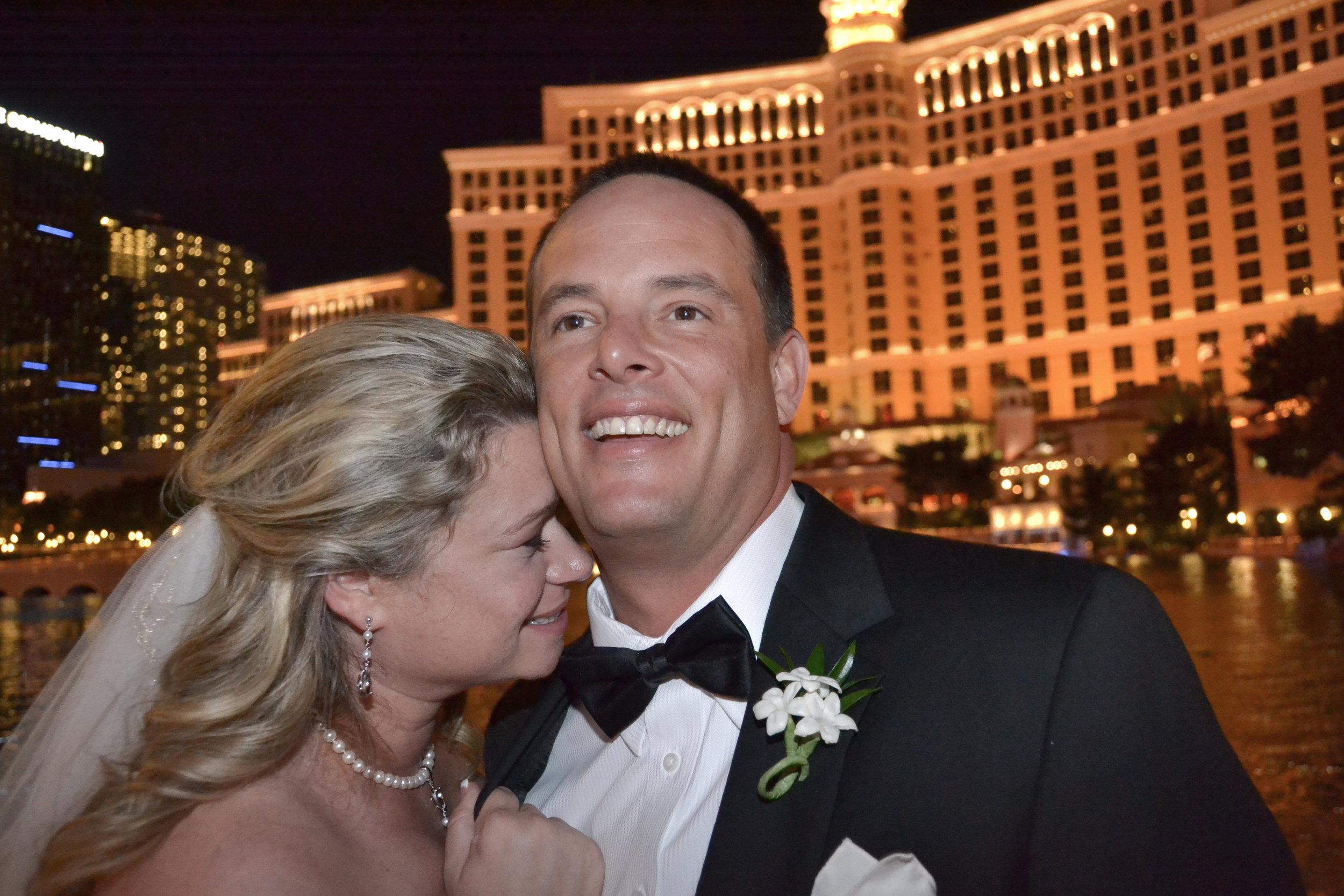 Bride and groom in Vegas.