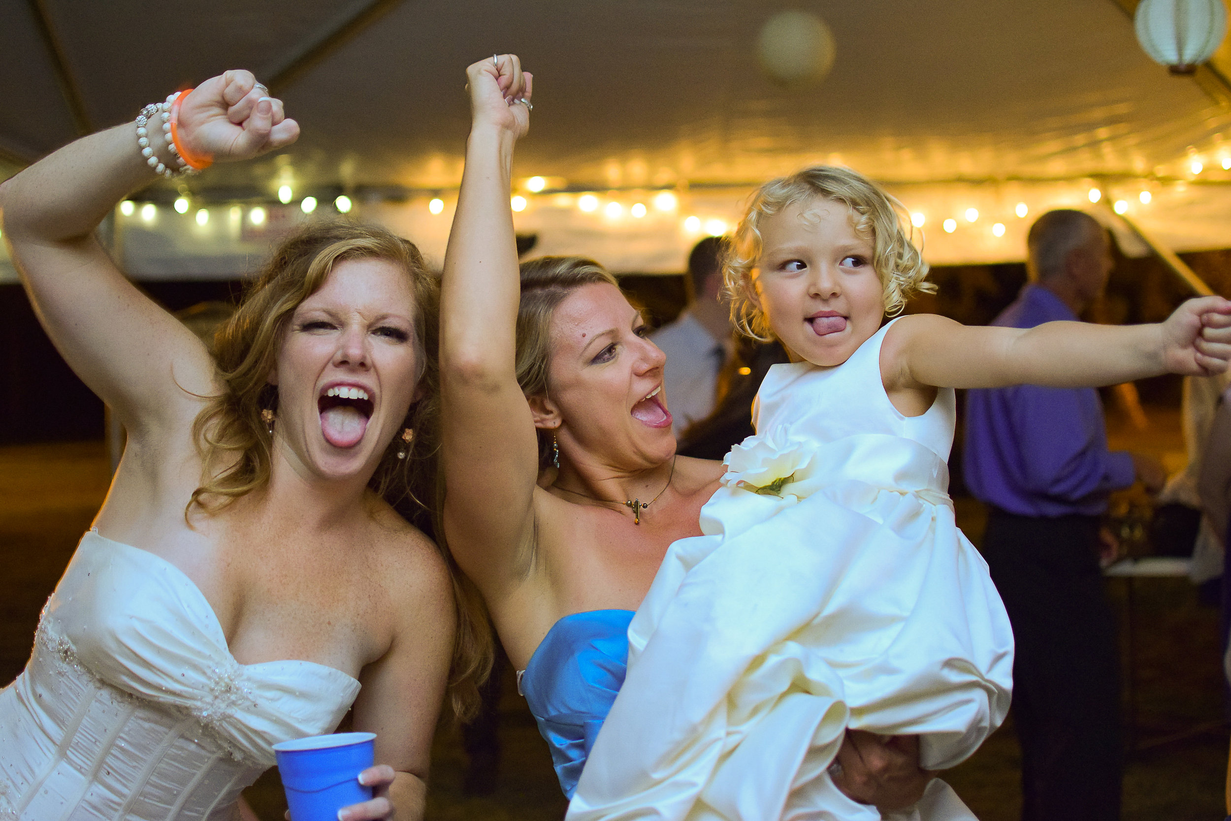 Bride dancing at wedding.