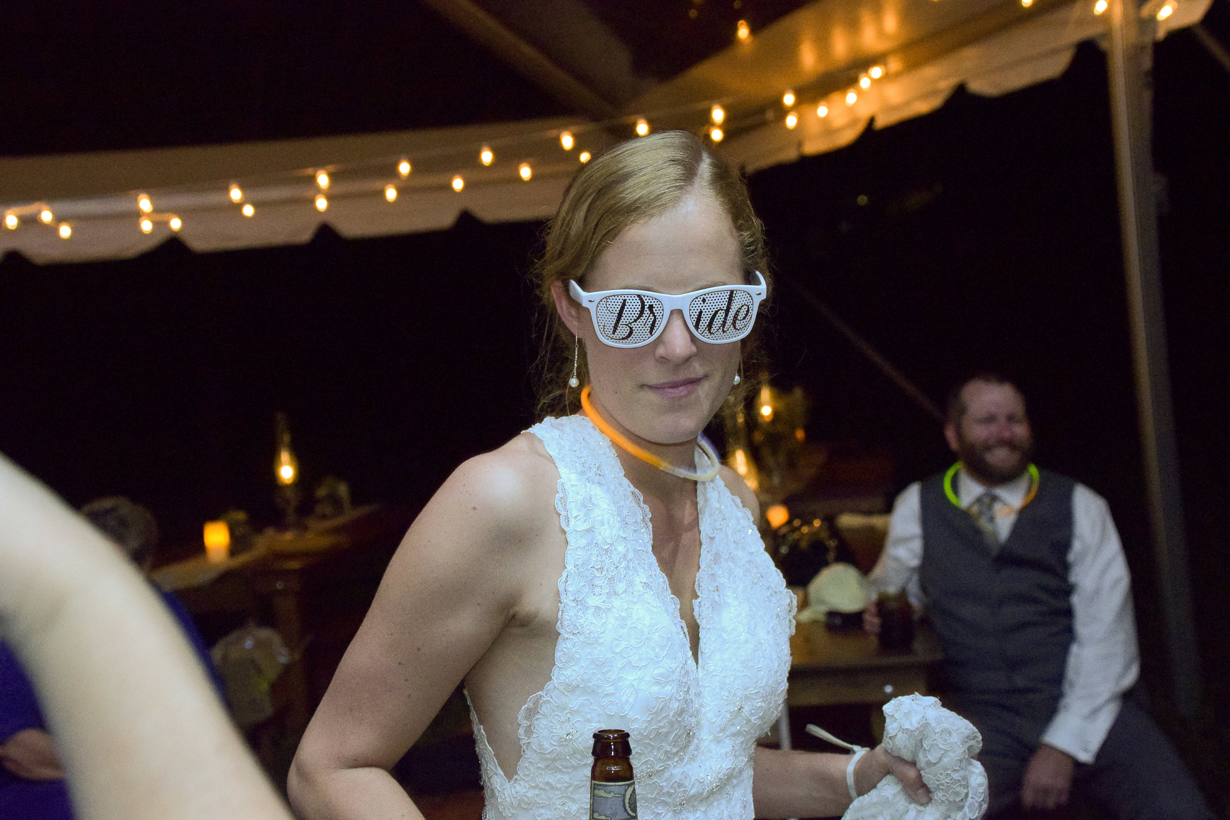 Bride with funky sunglasses.