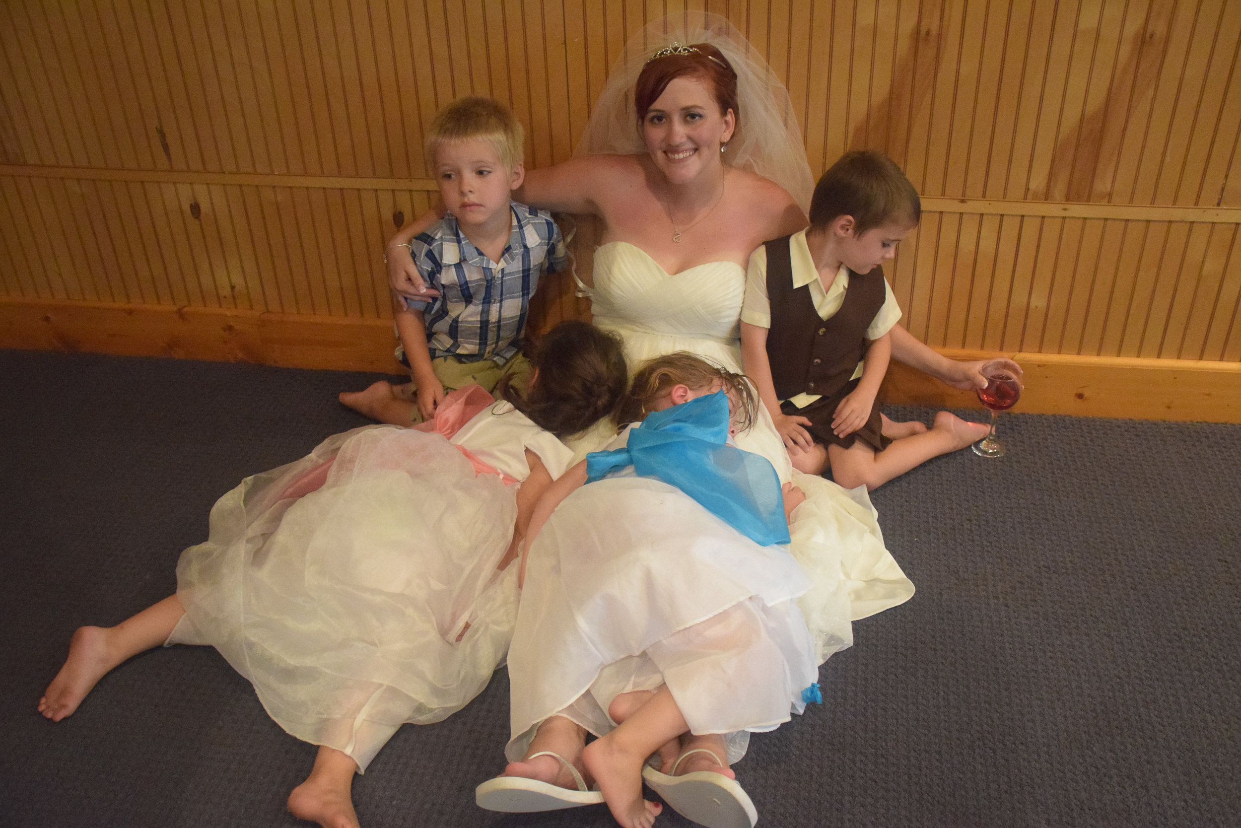 Bride with kids.