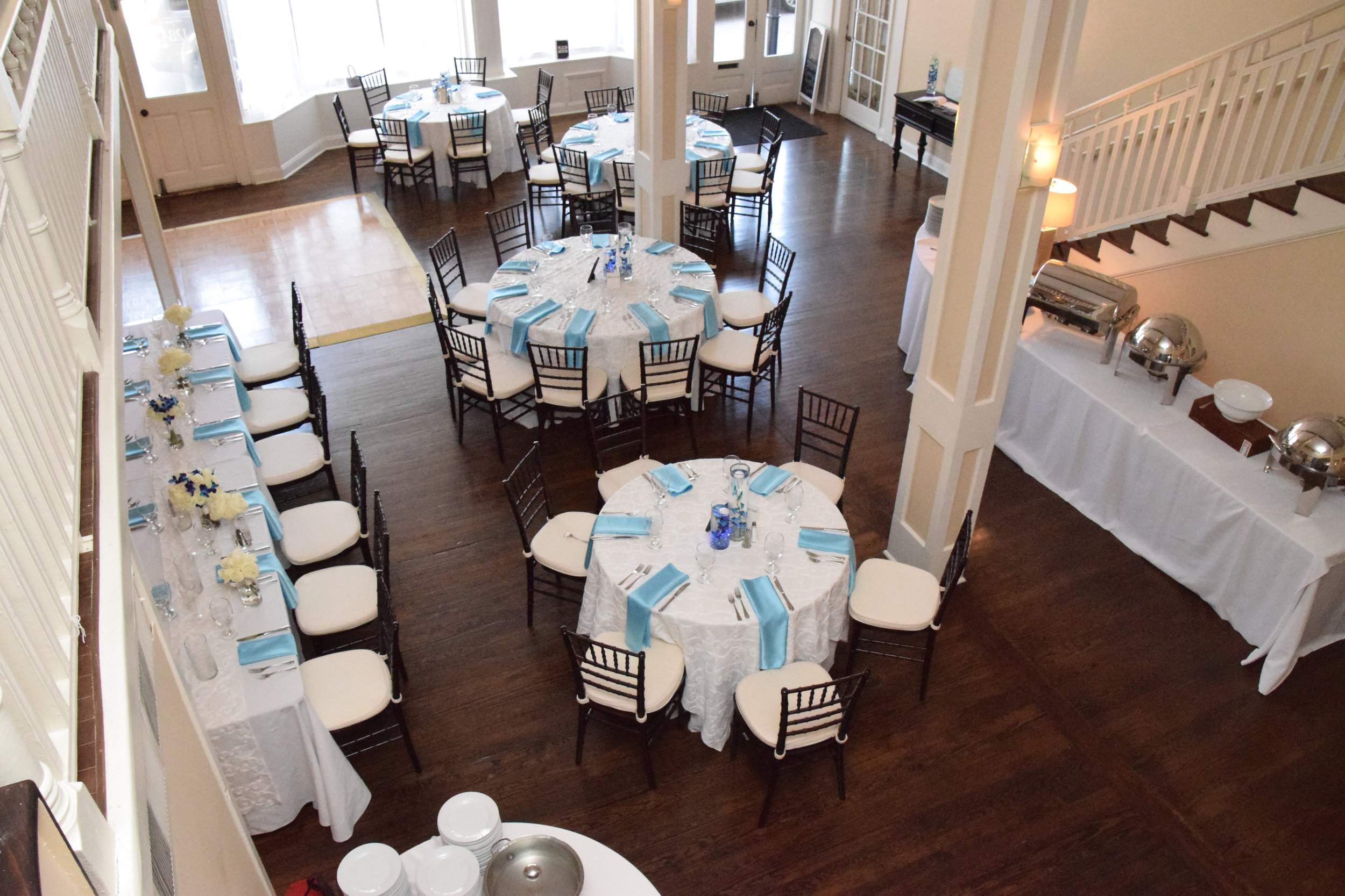Wedding reception setup.