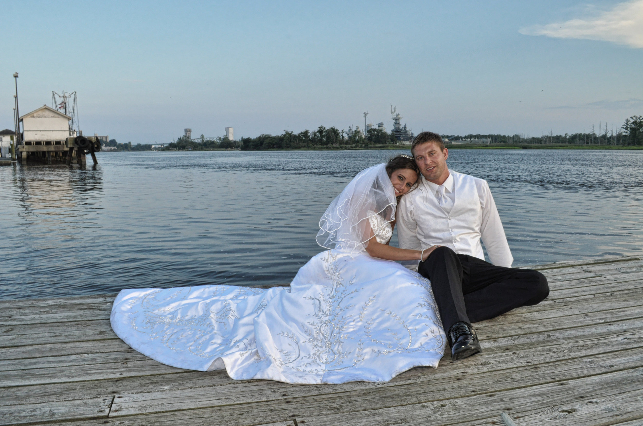 Posed picture of bride and groom.