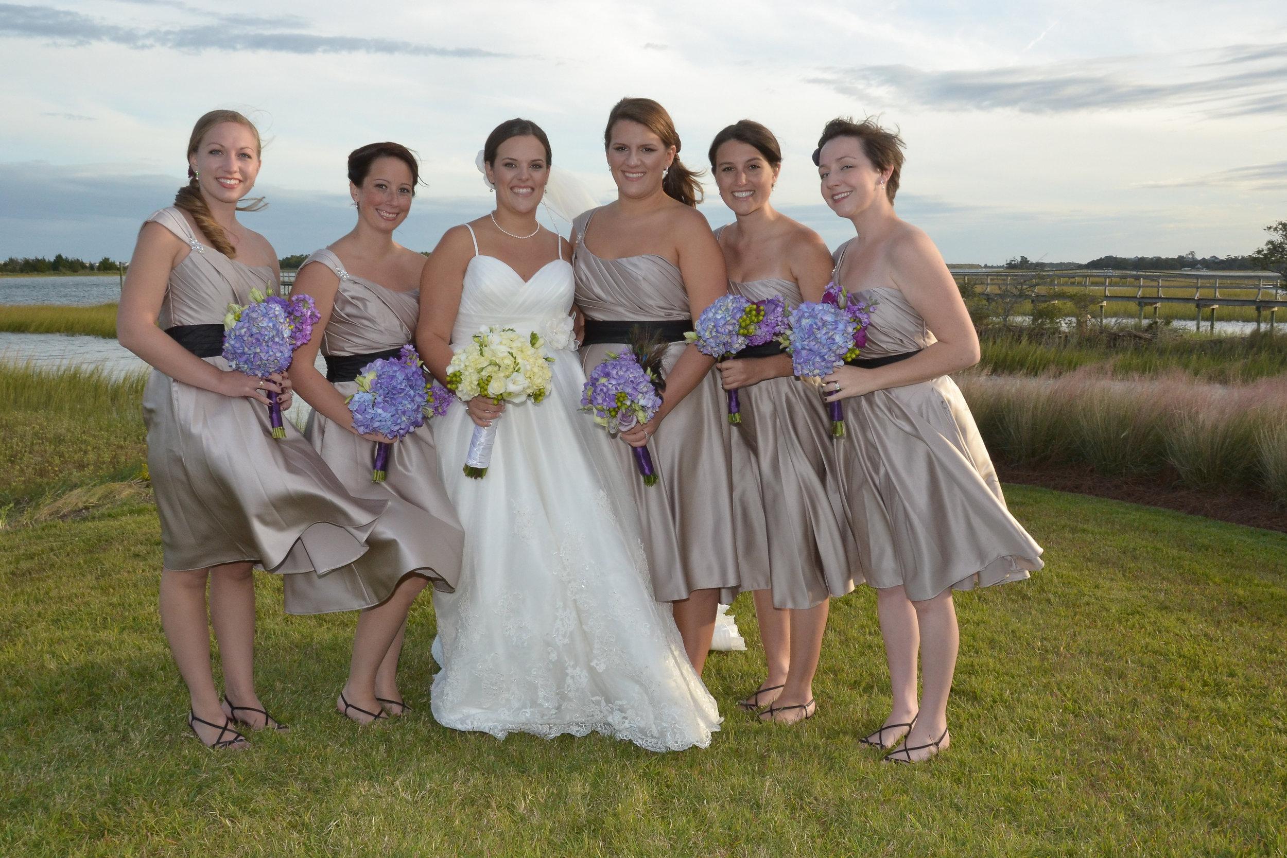 Bride and bridesmaids portrait. Intracoastal Waterway.