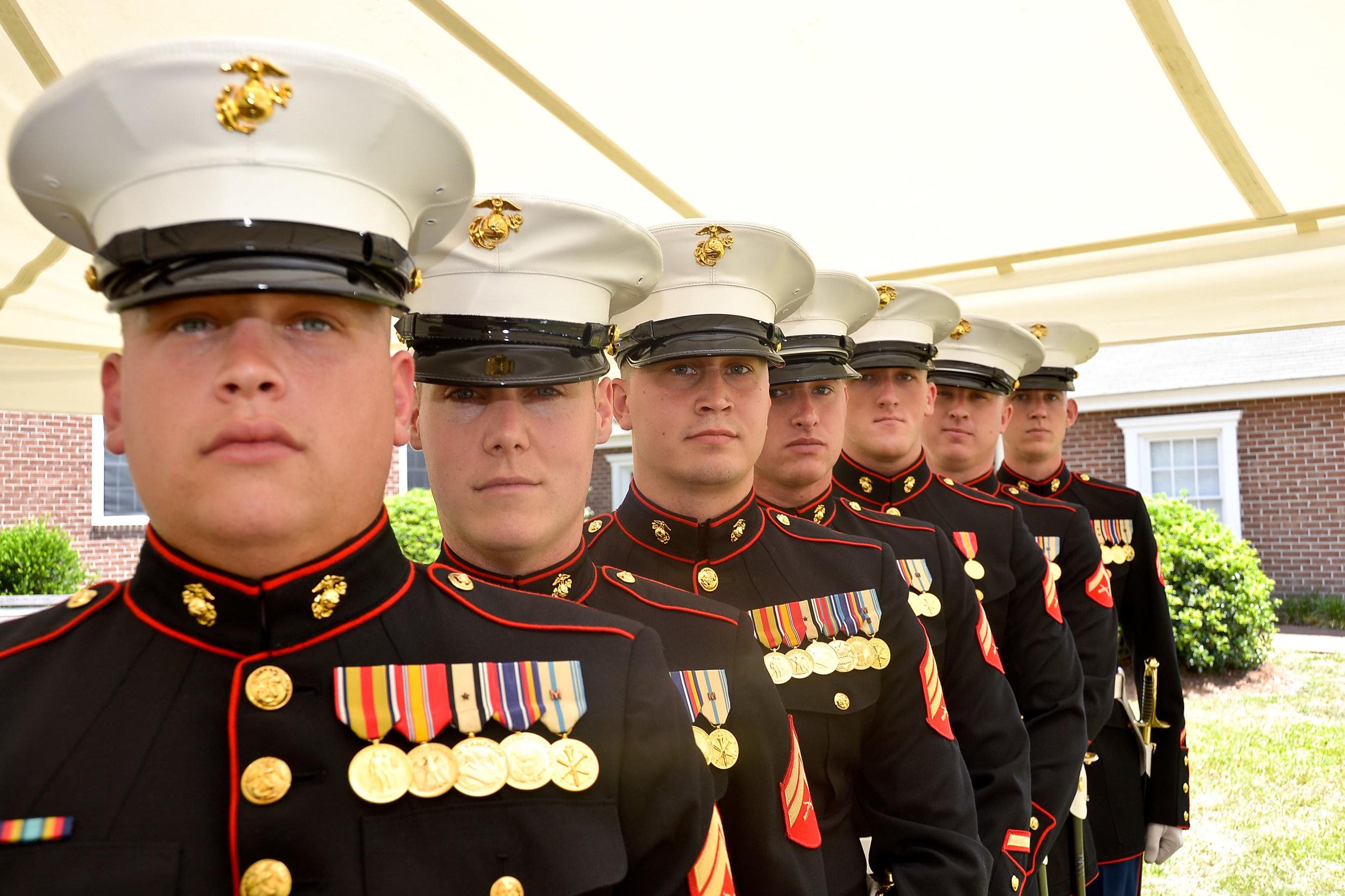 Marine groom and groomsmen.