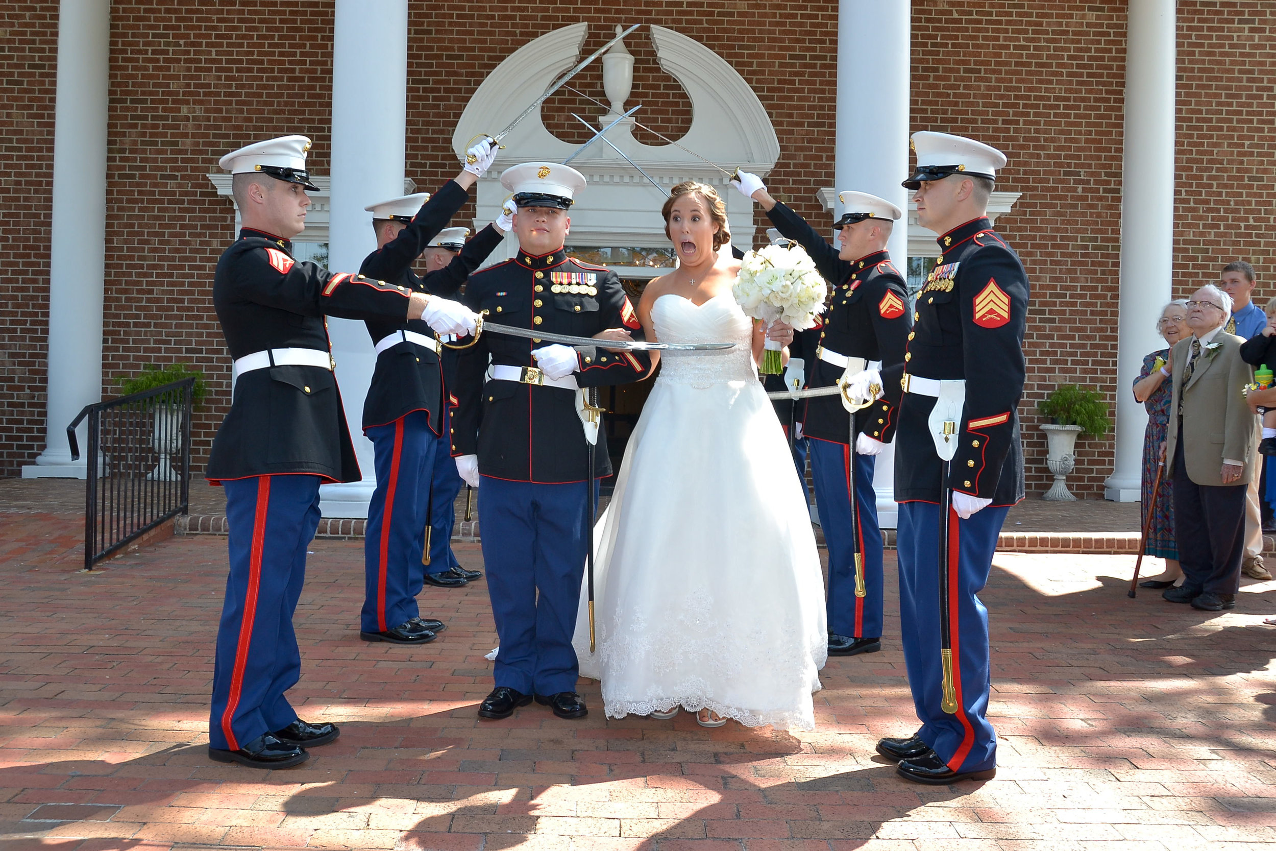Bride welcomed into the Marine Corps family.
