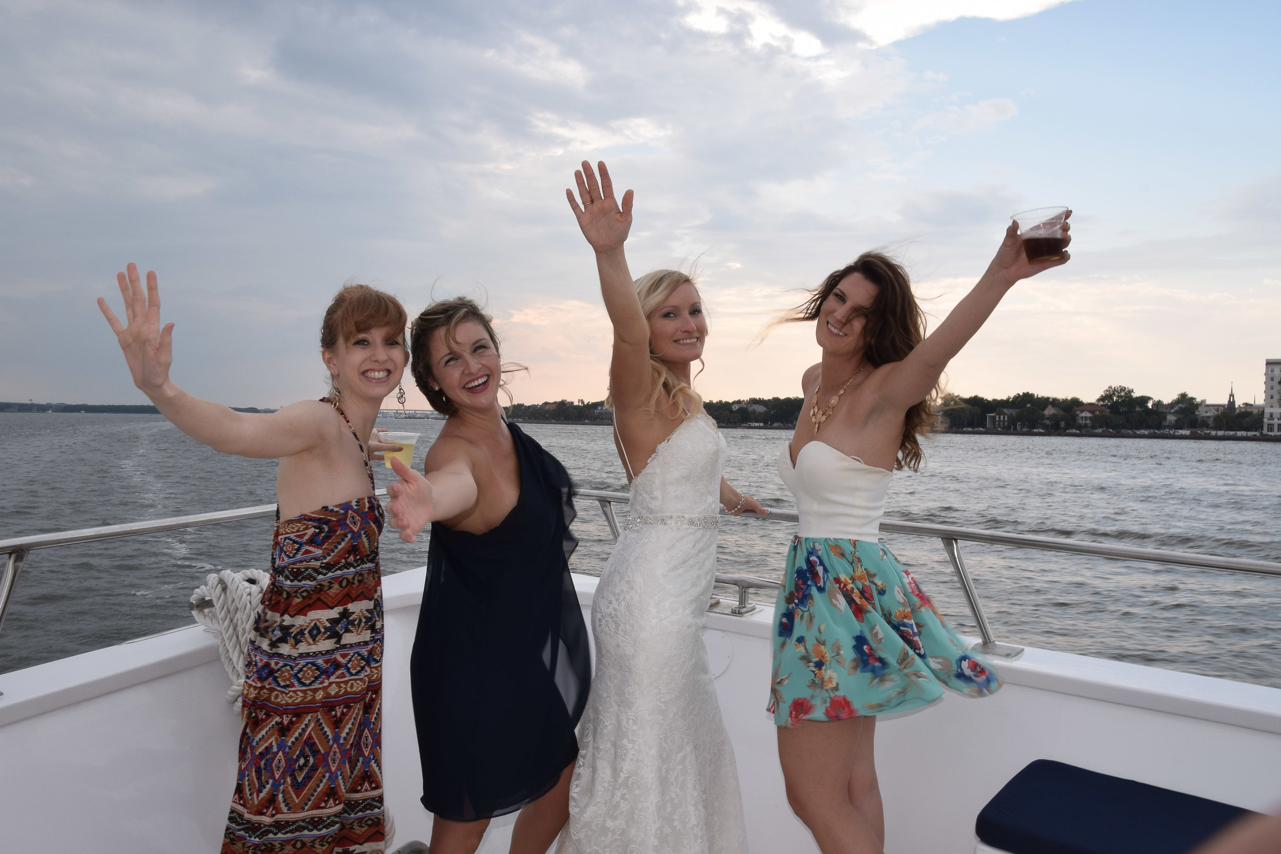 Bide and friends celebrating on the Carolina Girl.