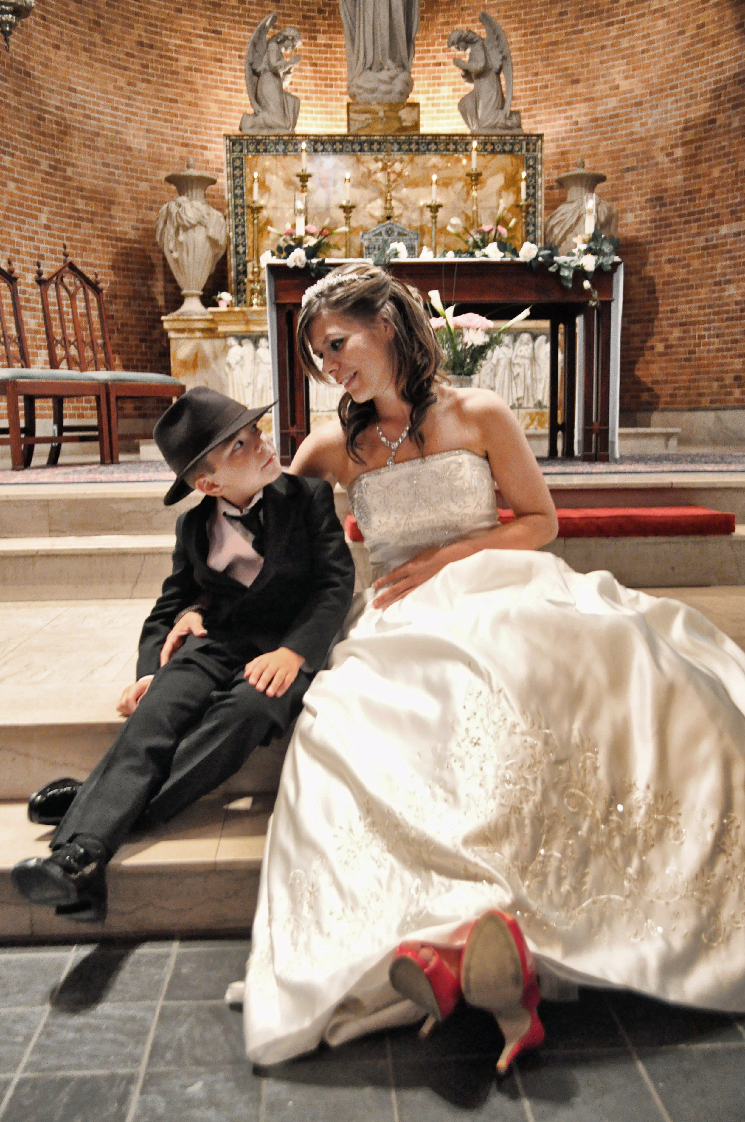 Bride and son at St. Mary's Basilica in Wilmington, NC