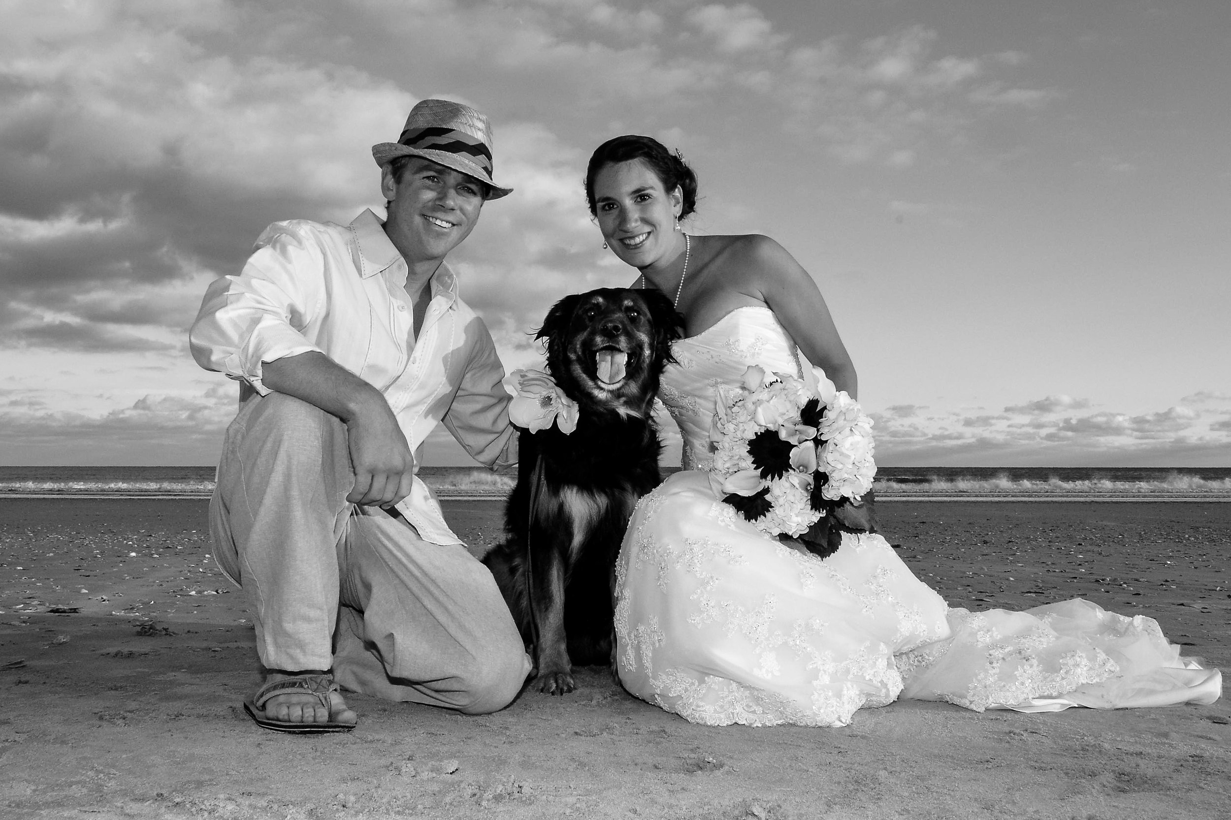 Bride, groom and dog.