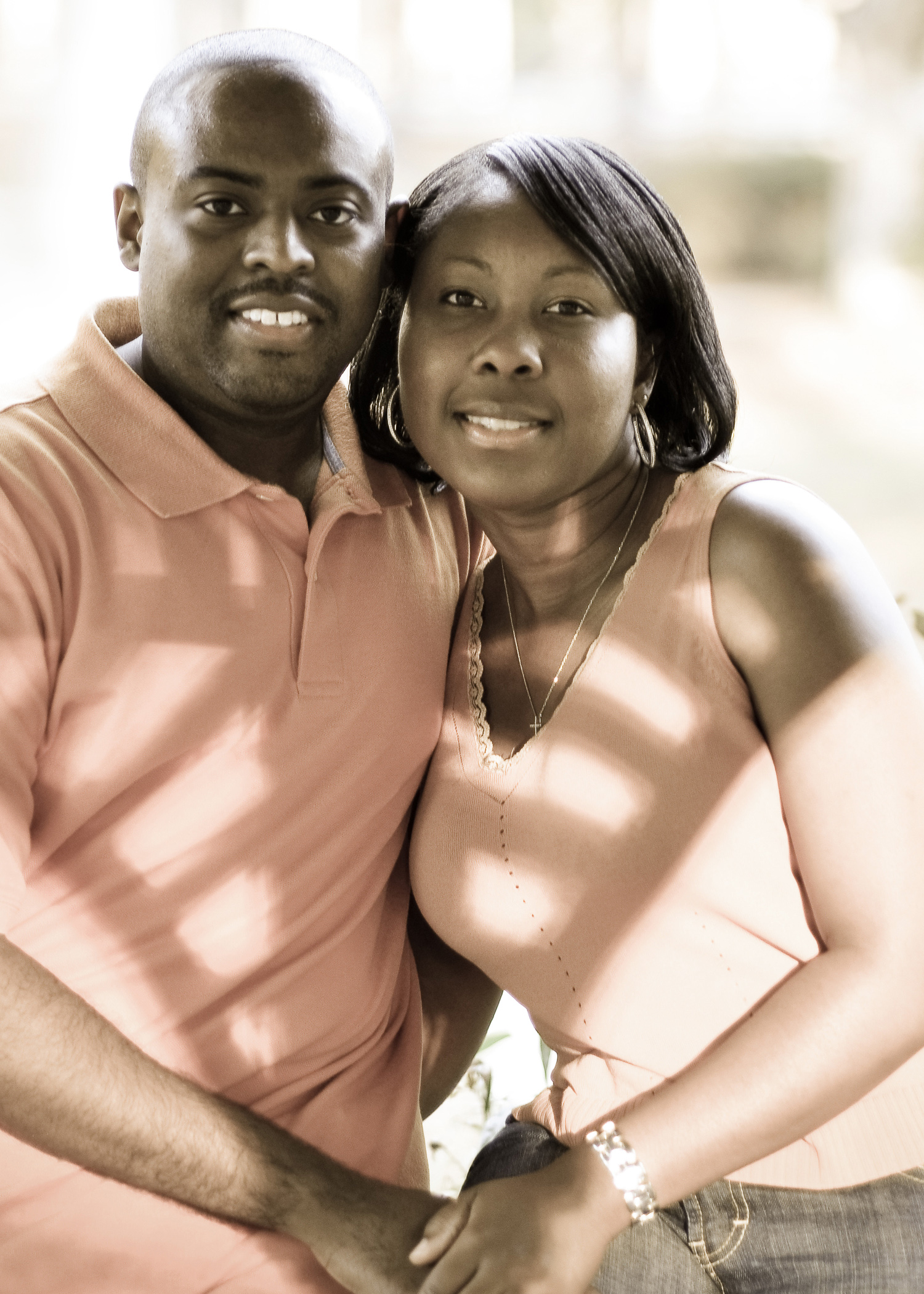 Engagement portrait at Greenfield Lake in Wilmington, NC.