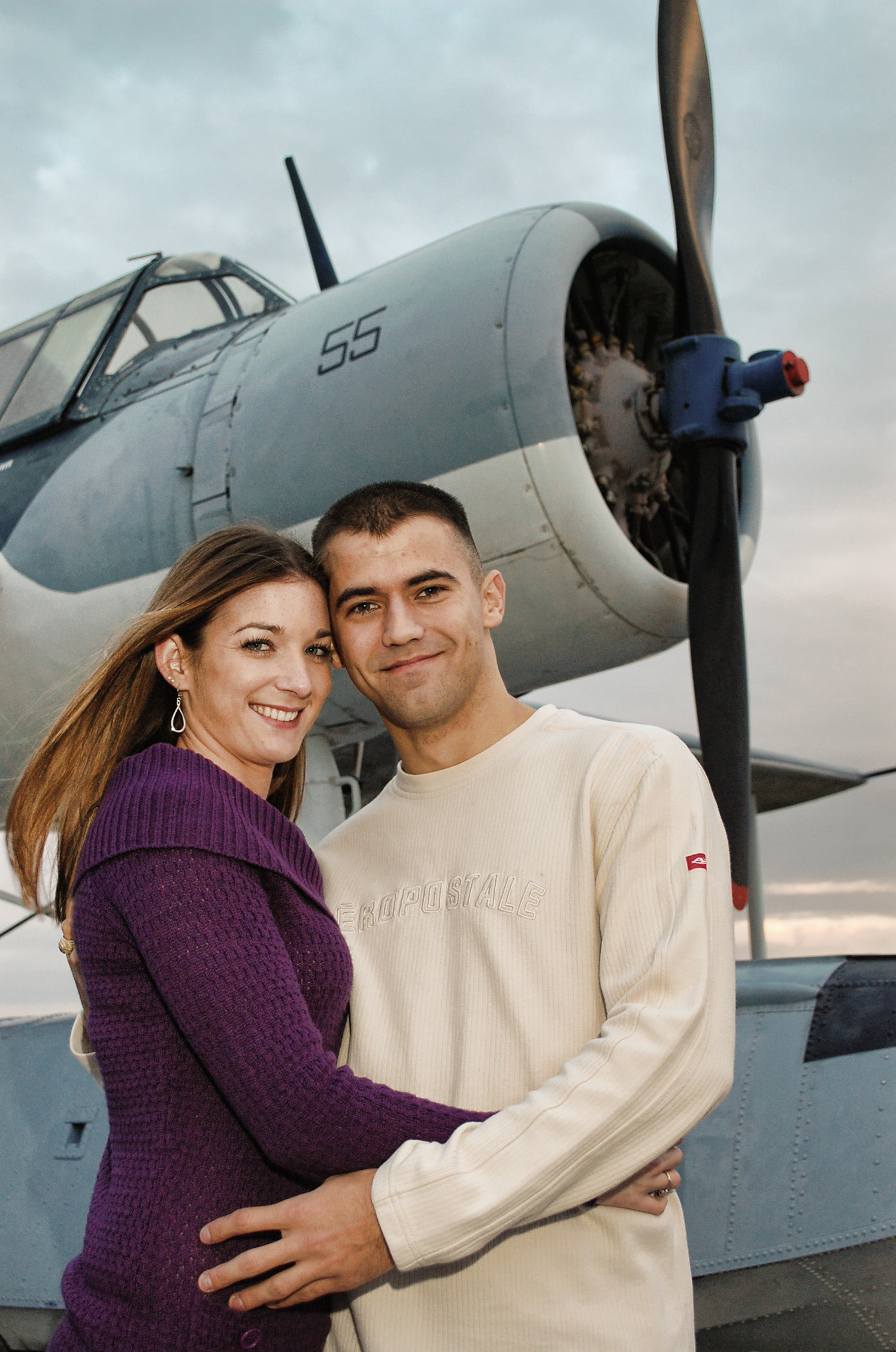 Couple posed for engagement photo aboard the Battleship, NC.
