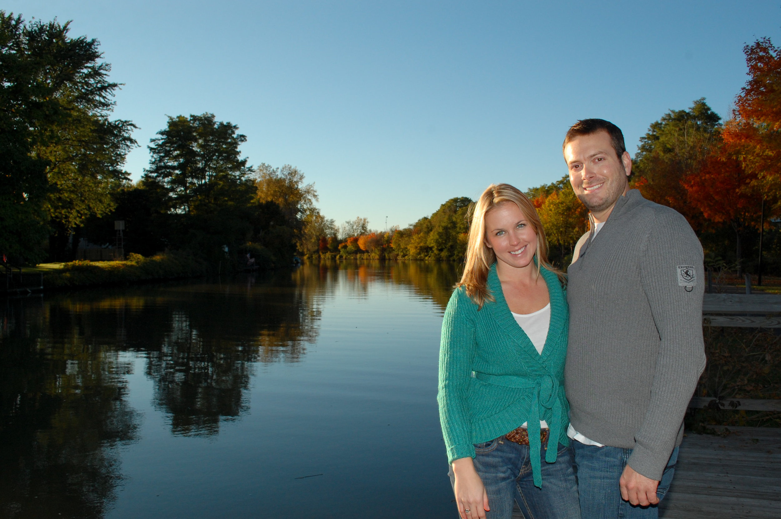 Casual engagement portrait taken on the Erie Canal.