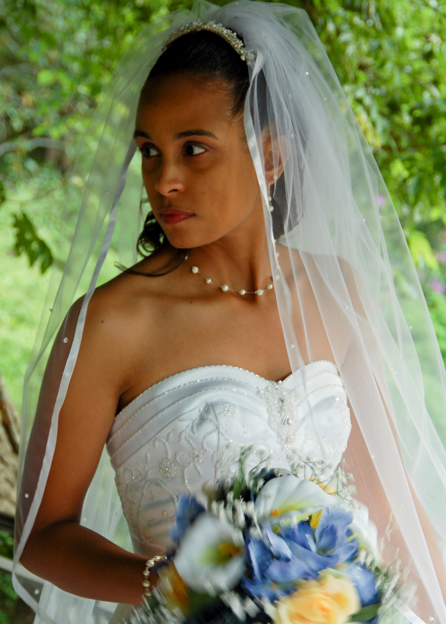 Bridal portrait at Duke Gardens in Durham, NC.