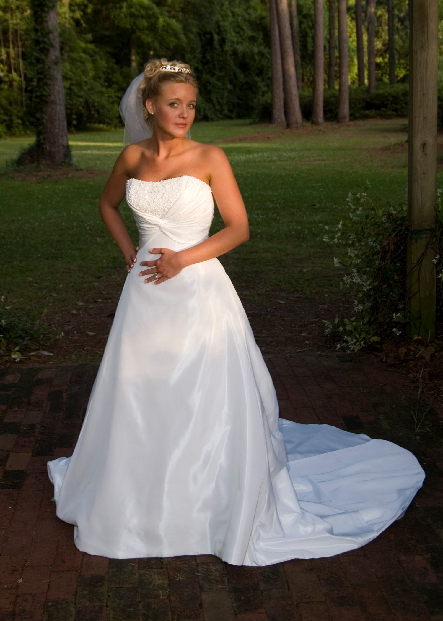 Bridal Portrait at Greenfield Lake, NC.