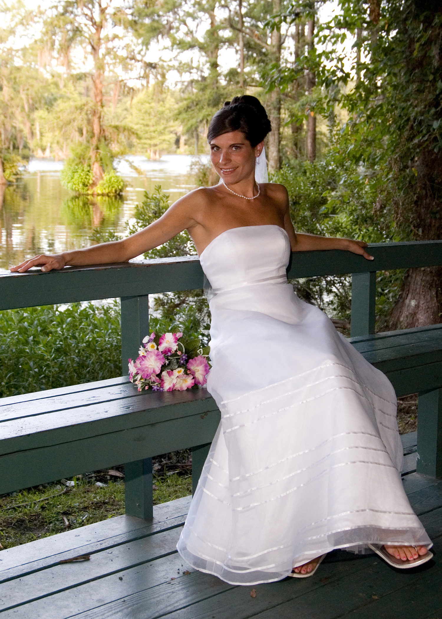 Casual bridal portrait in Greenfield Lake, Wilmington, NC.